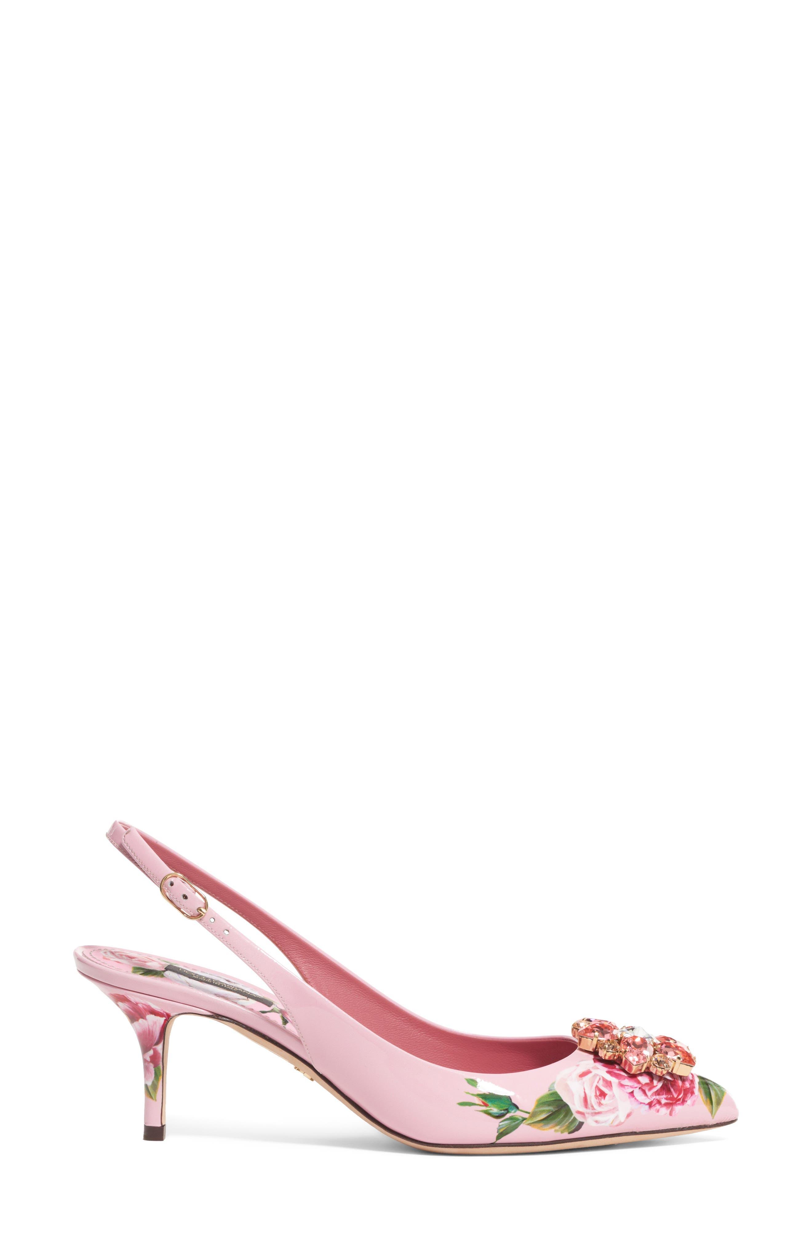 Floral Slingback Pump,                         Main,                         color, Pink