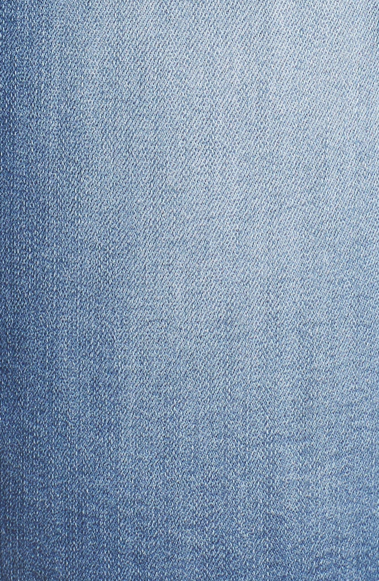Flex-Ellent High Rise Denim Shorts,                             Alternate thumbnail 5, color,                             Light Blue