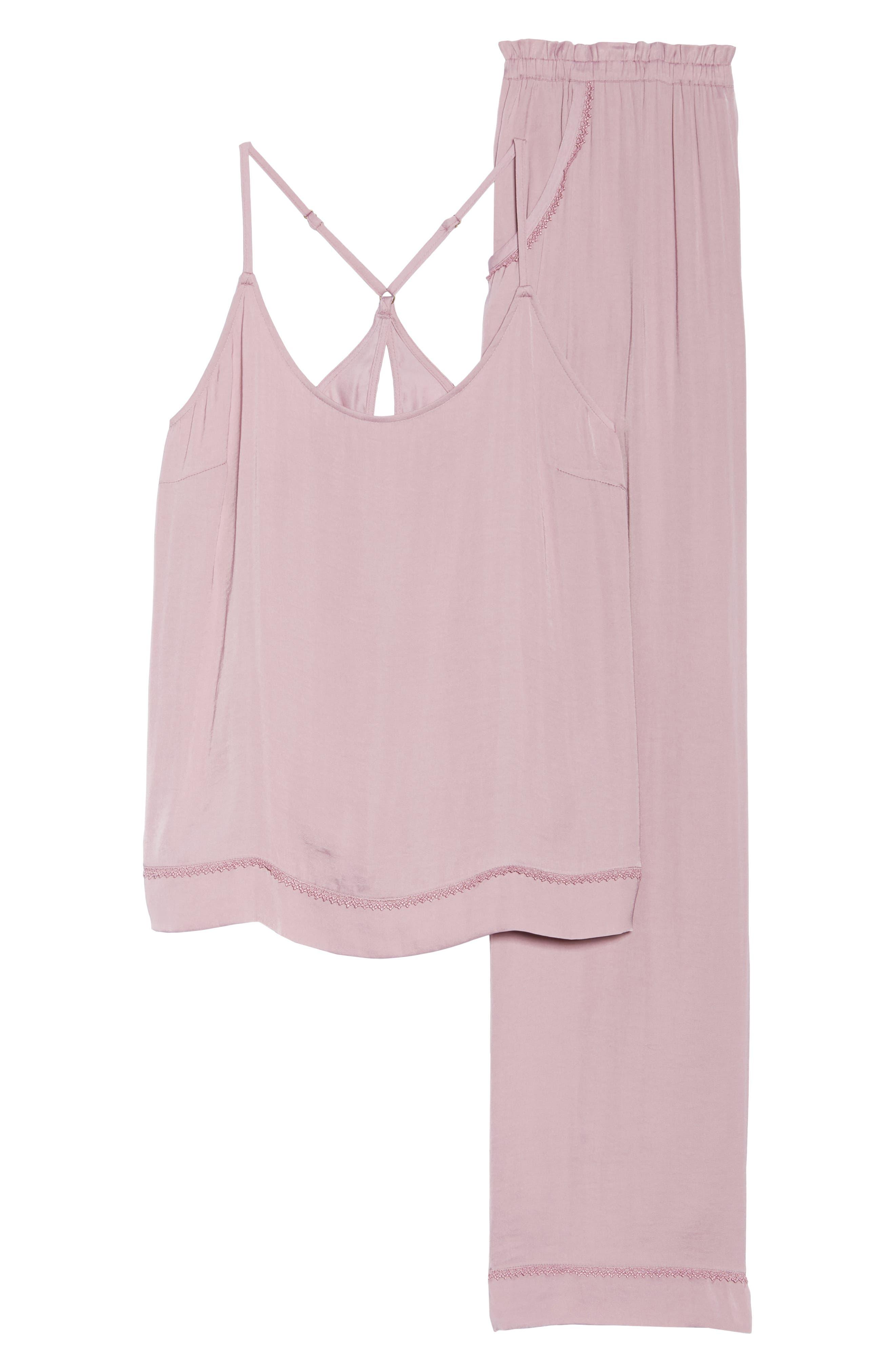 Sweet Dreams Satin Pajamas,                             Alternate thumbnail 6, color,                             Purple Lilas