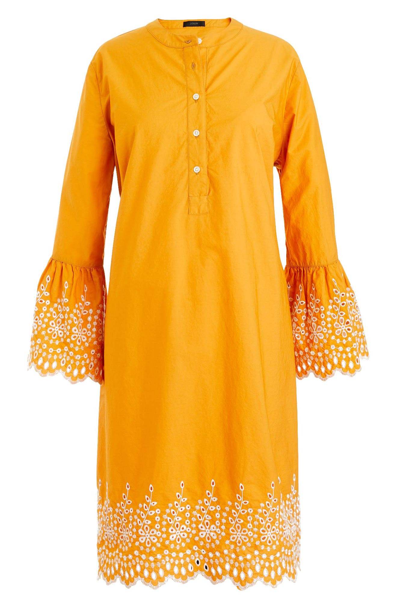J.Crew Eyelet Bell Sleeve Dress,                             Alternate thumbnail 4, color,                             Bronzed Orange