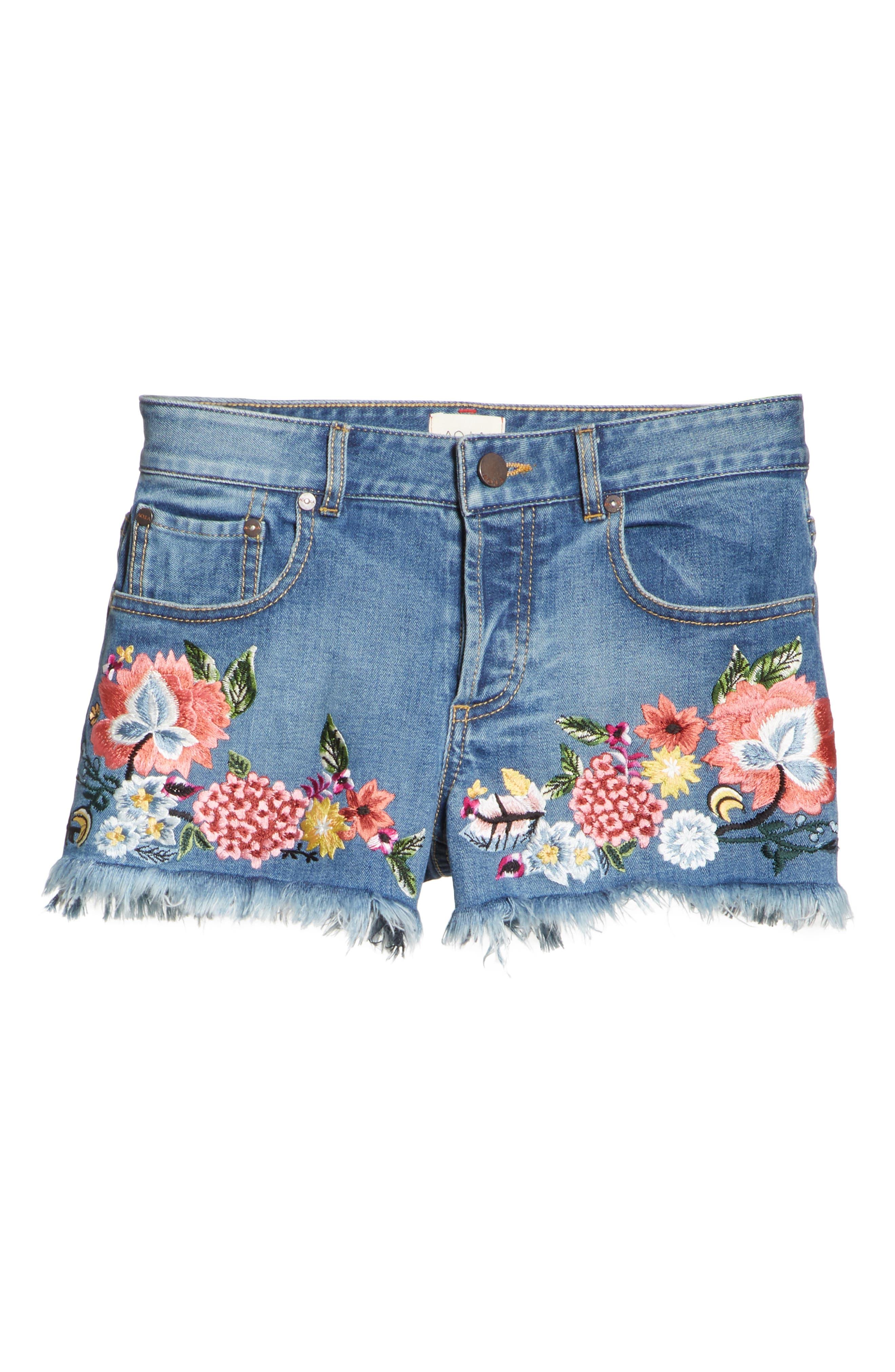 AO.LA Embroidered Denim Shorts,                             Alternate thumbnail 6, color,                             Multi