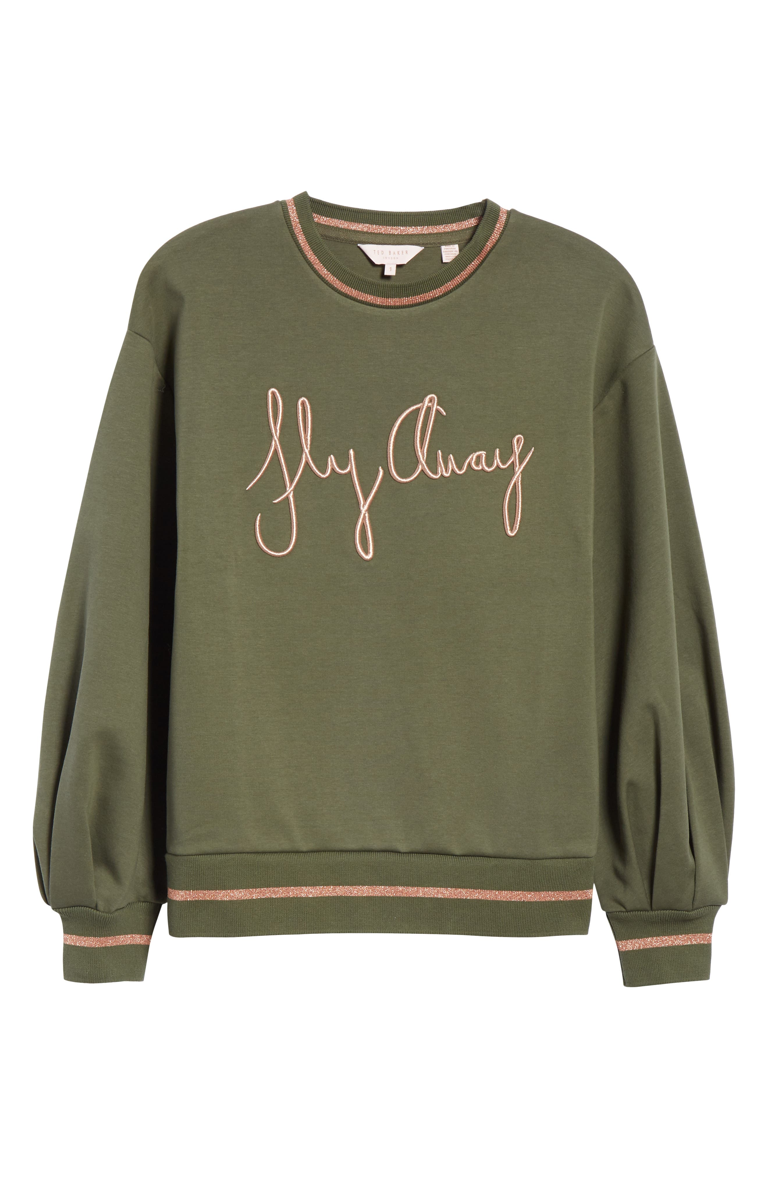 Abileen Fly Away Embroidered Sweatshirt,                             Alternate thumbnail 6, color,                             Khaki