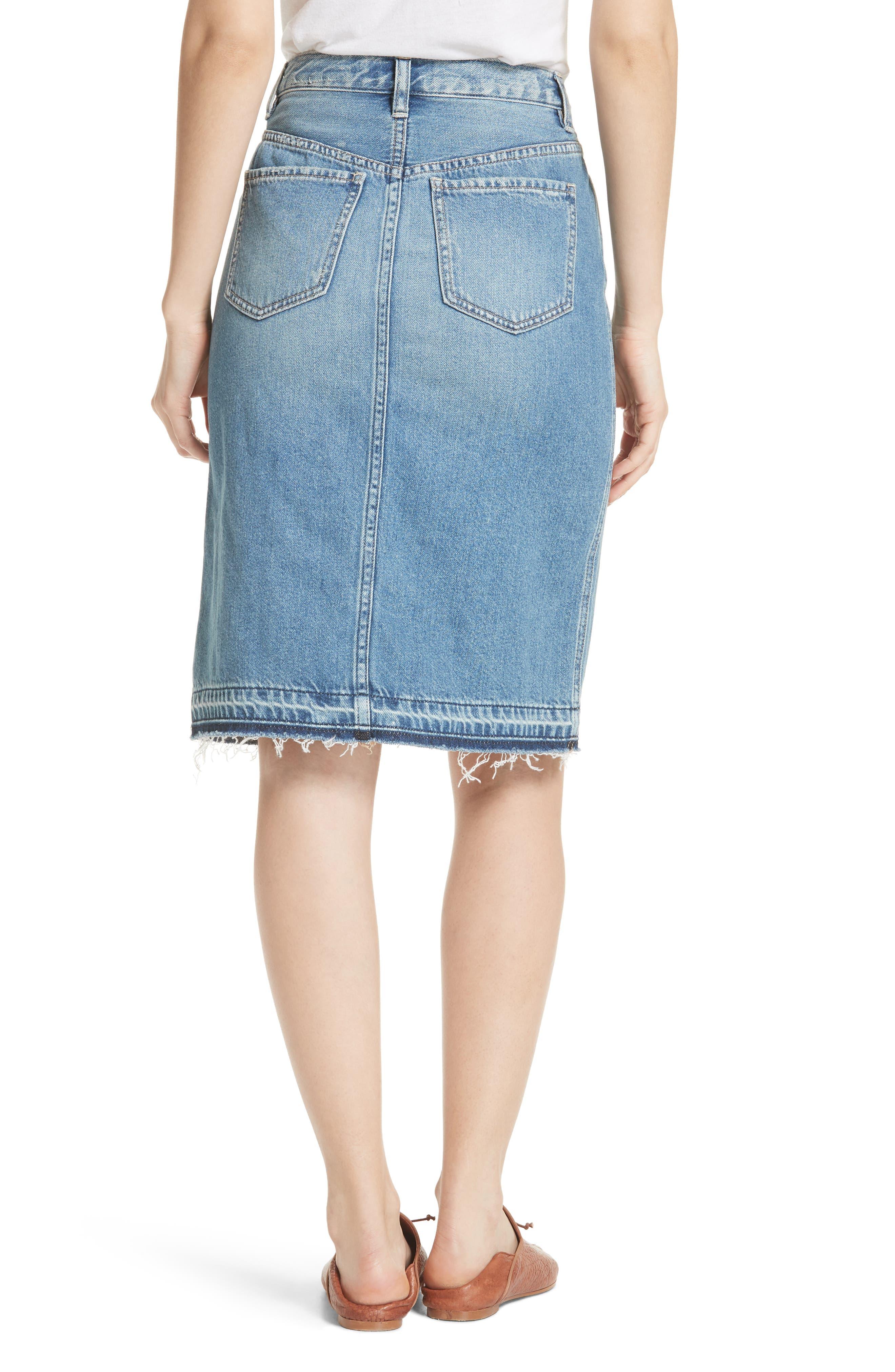 Front Slit Denim Skirt,                             Alternate thumbnail 2, color,                             Blue