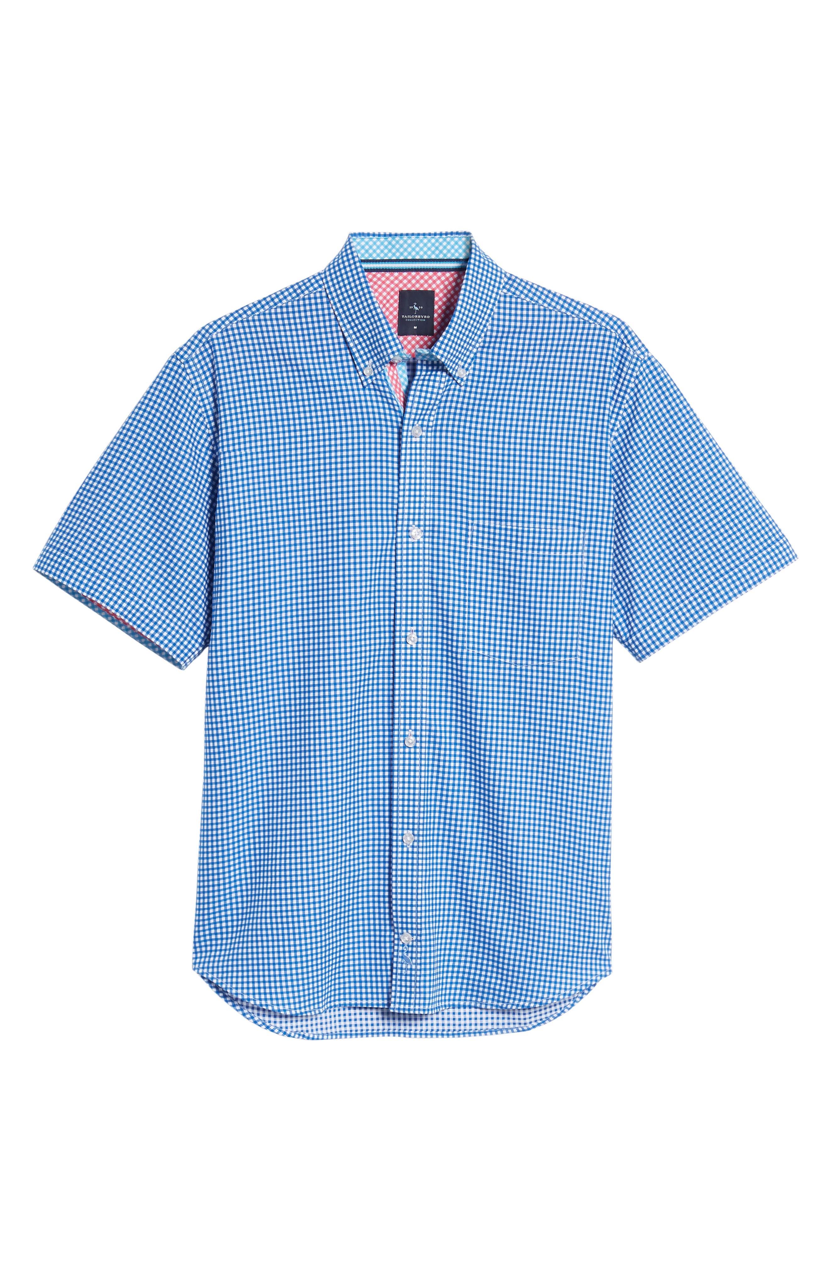 Abel Regular Fit Mini Check Sport Shirt,                             Alternate thumbnail 6, color,                             Royal