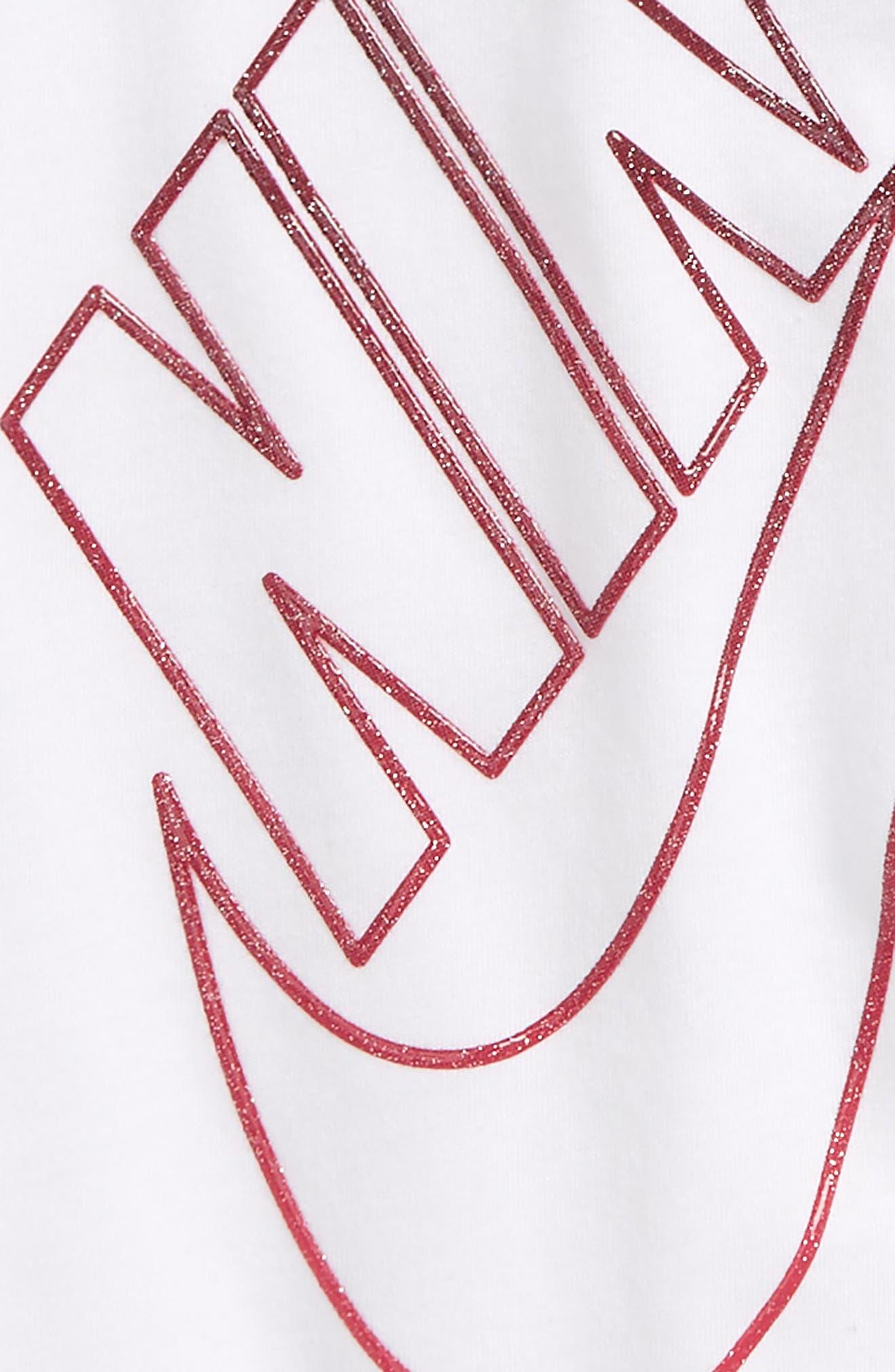 Gradient Futura Glitter Logo Tee,                             Alternate thumbnail 2, color,                             White