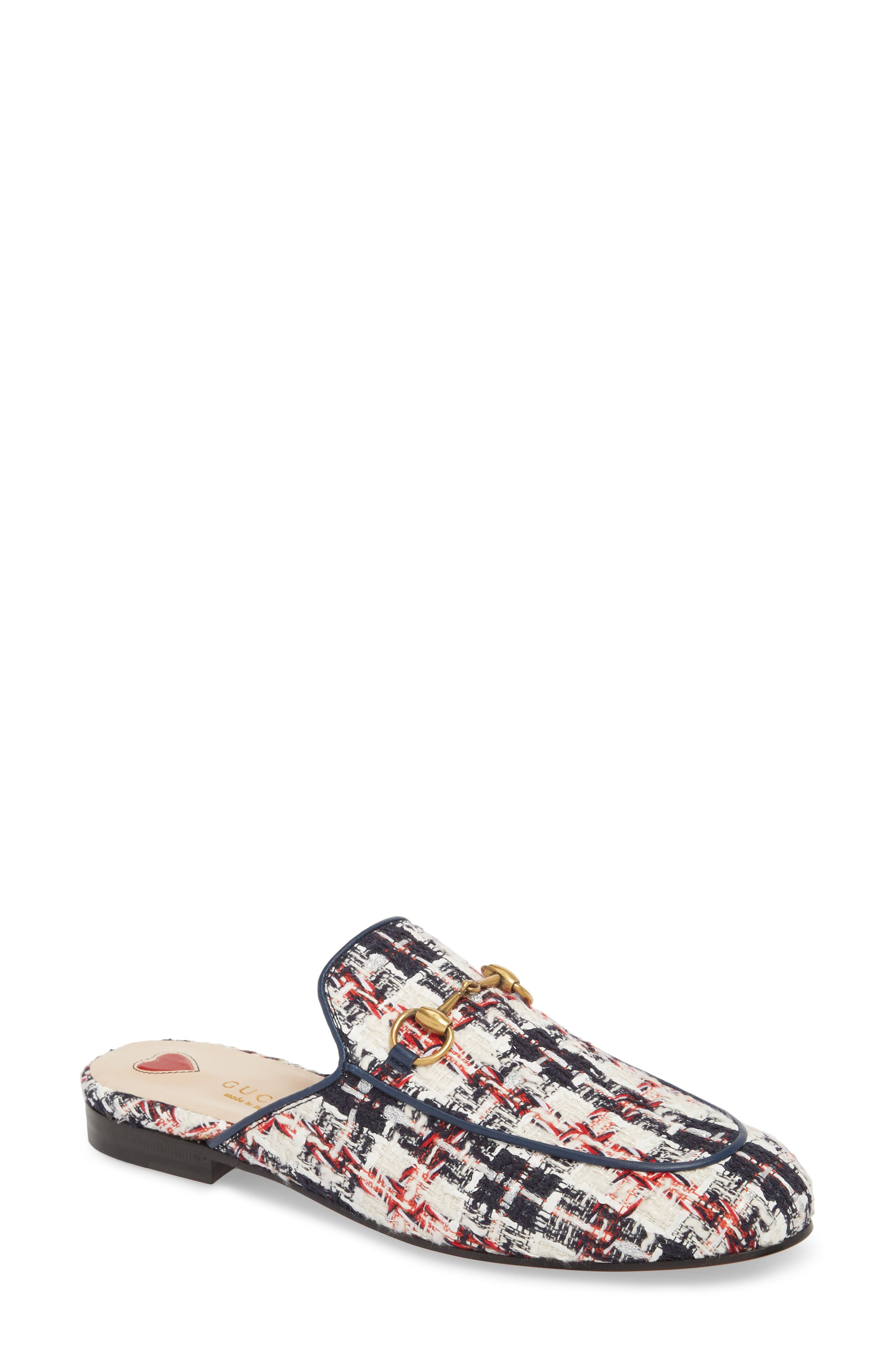 Princetown Loafer Mule,                             Main thumbnail 1, color,                             Blue/ White/ Red