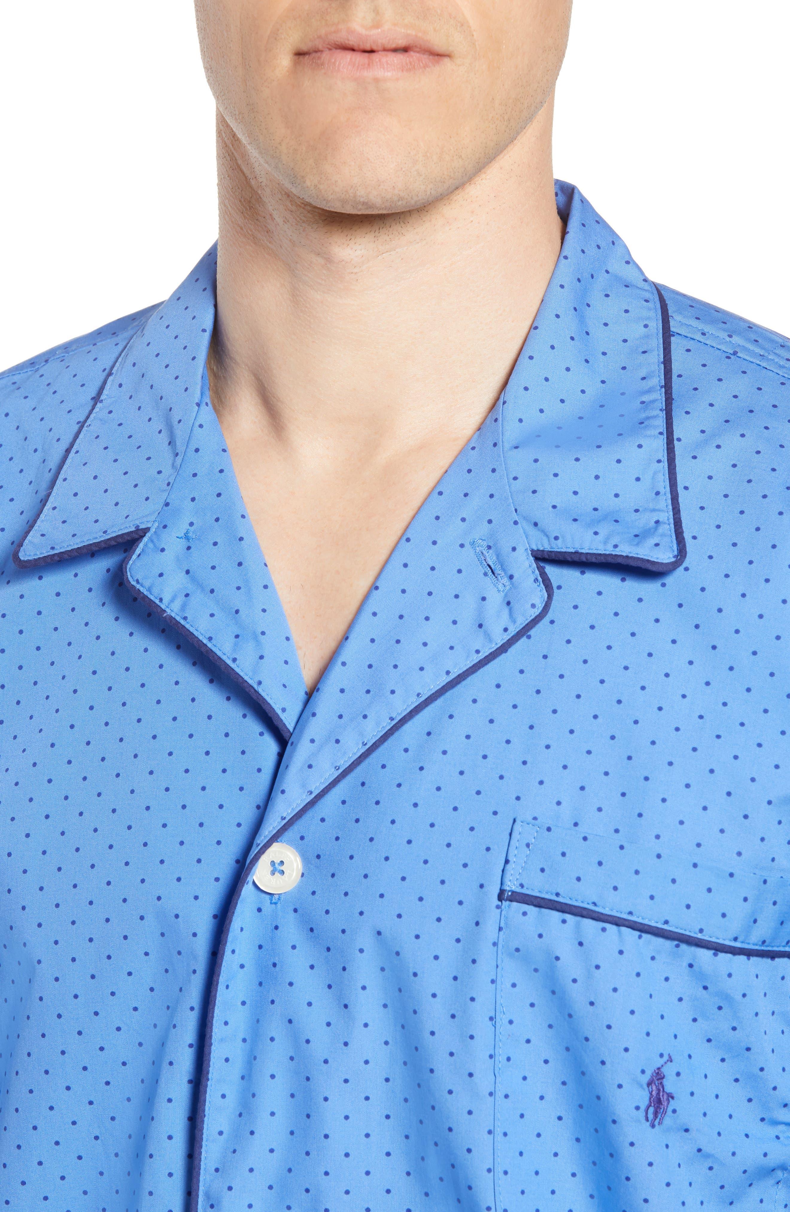 Dot Cotton Pajama Shirt,                             Alternate thumbnail 4, color,                             Harbour Island Blue/ Navy
