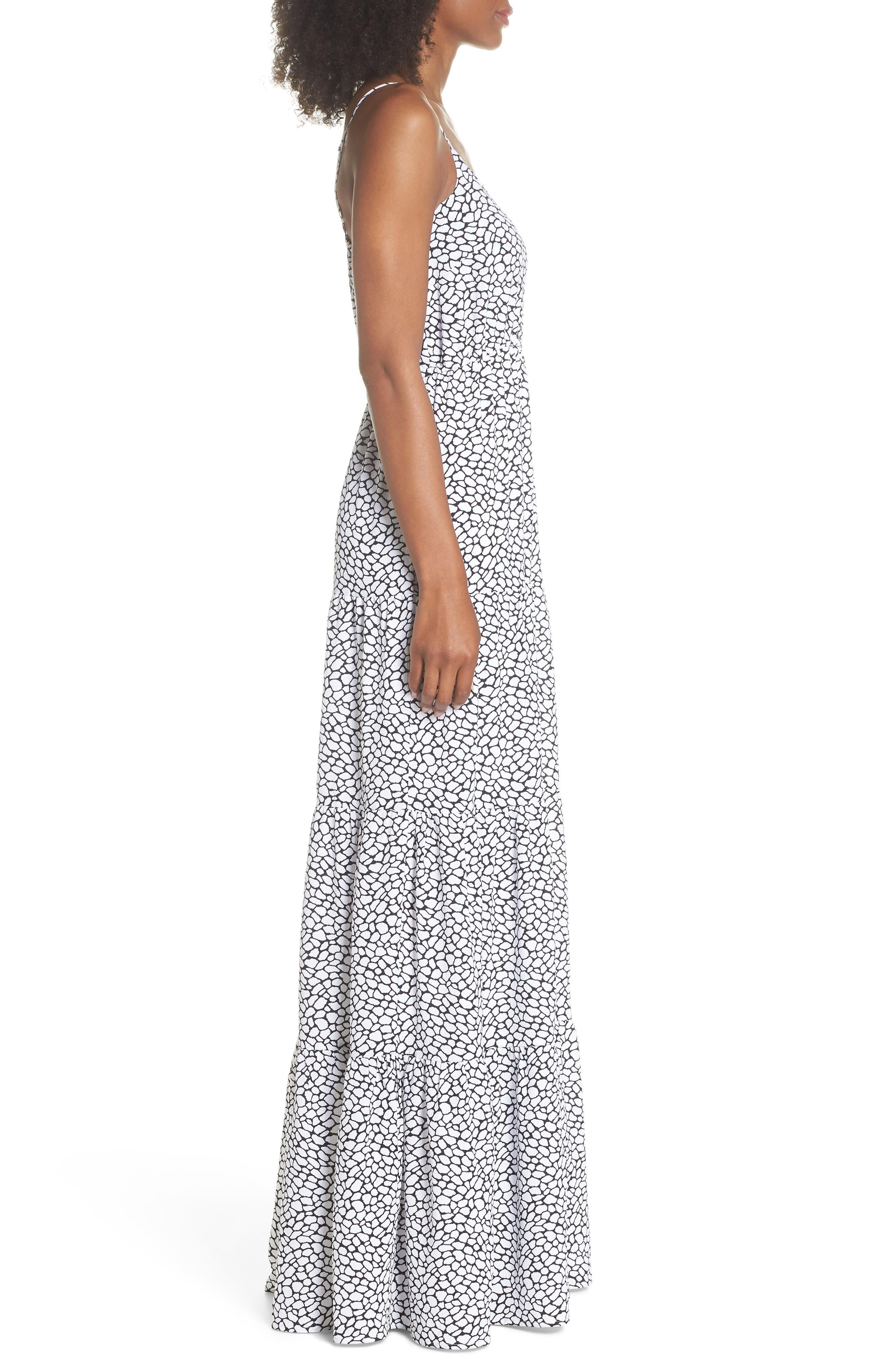 Tiered Maxi Dress,                             Alternate thumbnail 3, color,                             White/ Black