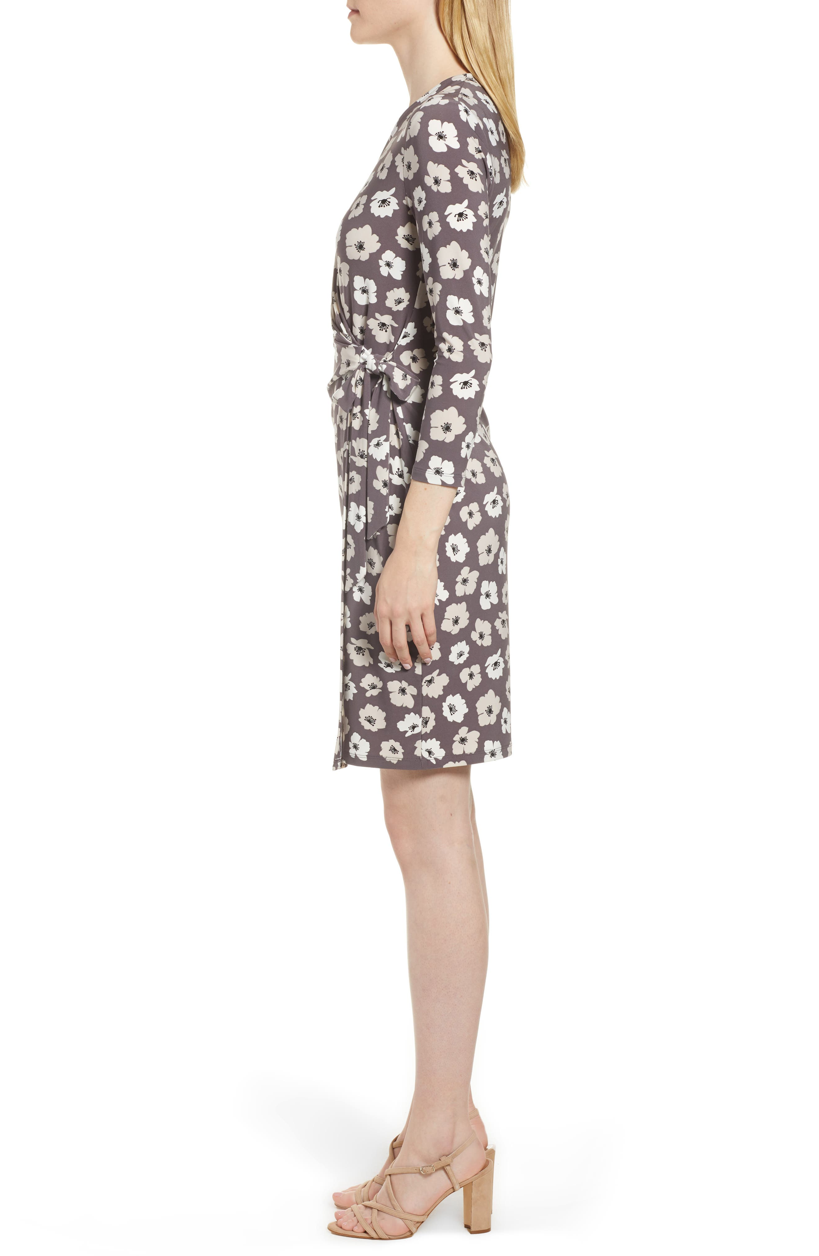 Floral Faux Wrap Dress,                             Alternate thumbnail 3, color,                             Nantucket Grey/ Oyster Shell