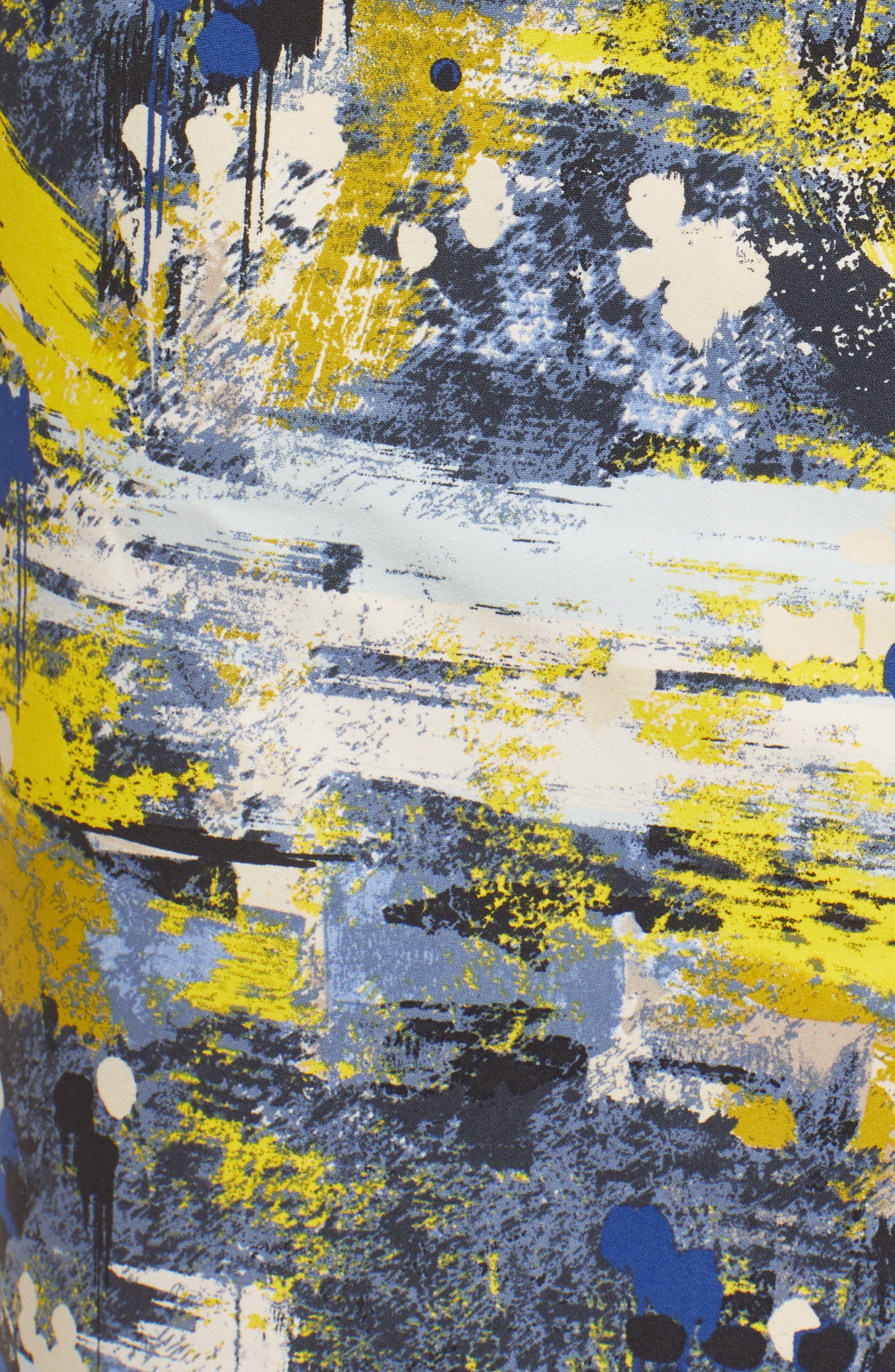 High Waist Skirt,                             Alternate thumbnail 5, color,                             Blue Dot Drip Print