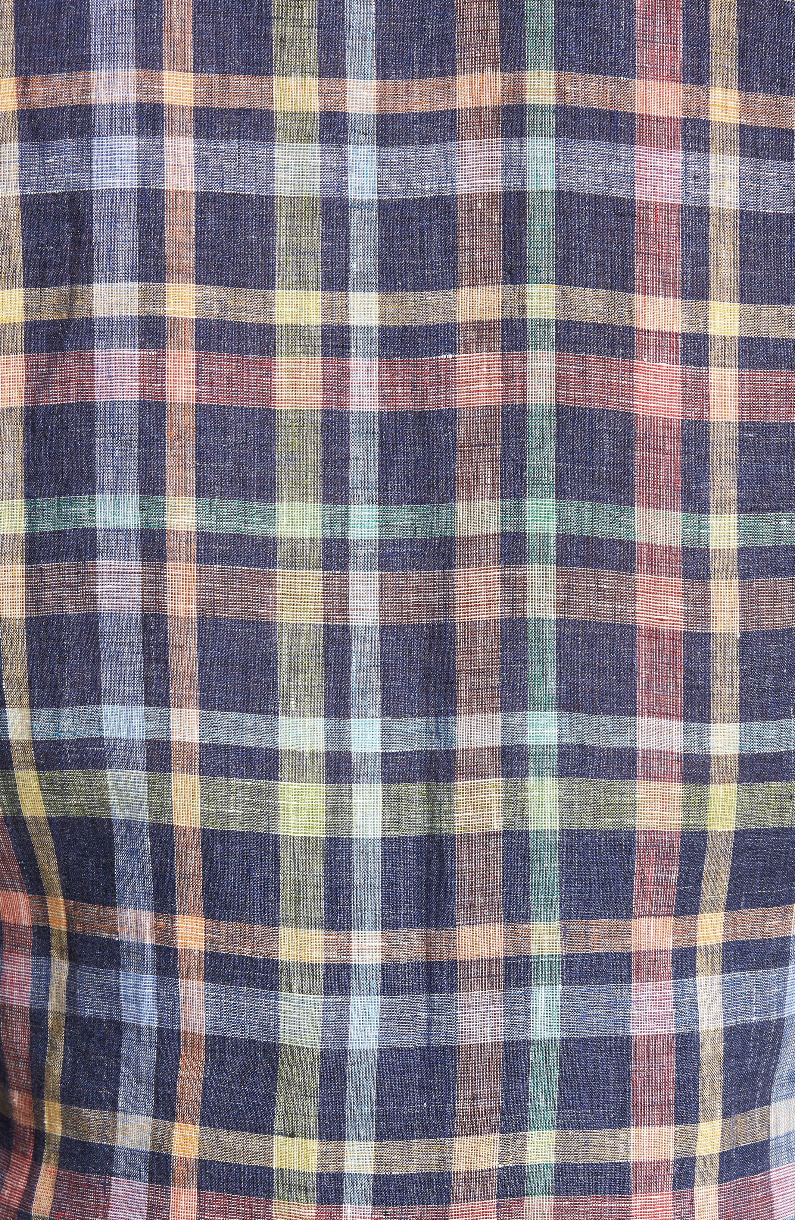 Stirling Plaid Linen Sport Shirt,                             Alternate thumbnail 5, color,                             Ink