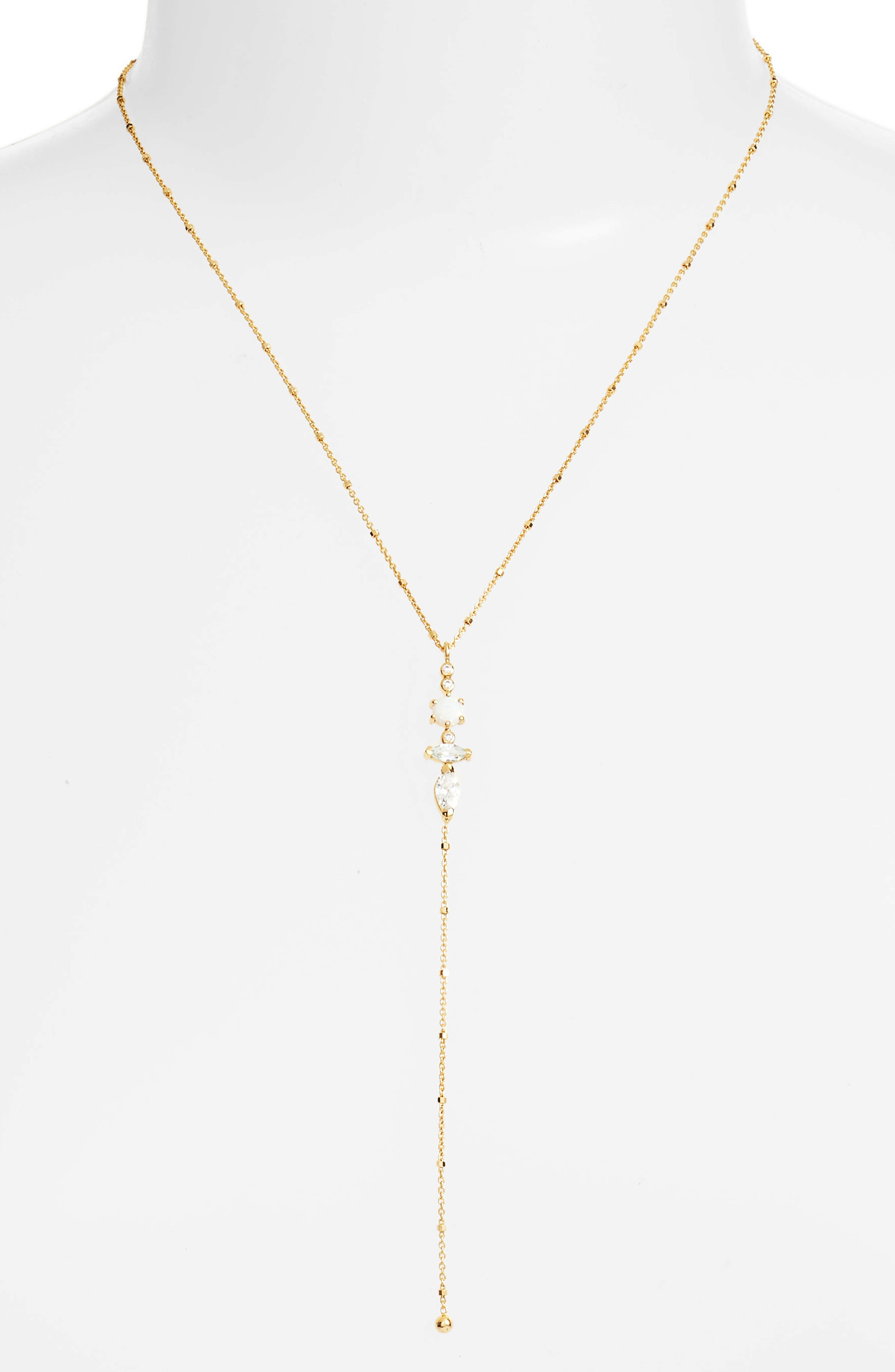 Sydney Multi-Stone Lariat Necklace,                             Main thumbnail 1, color,                             Gold