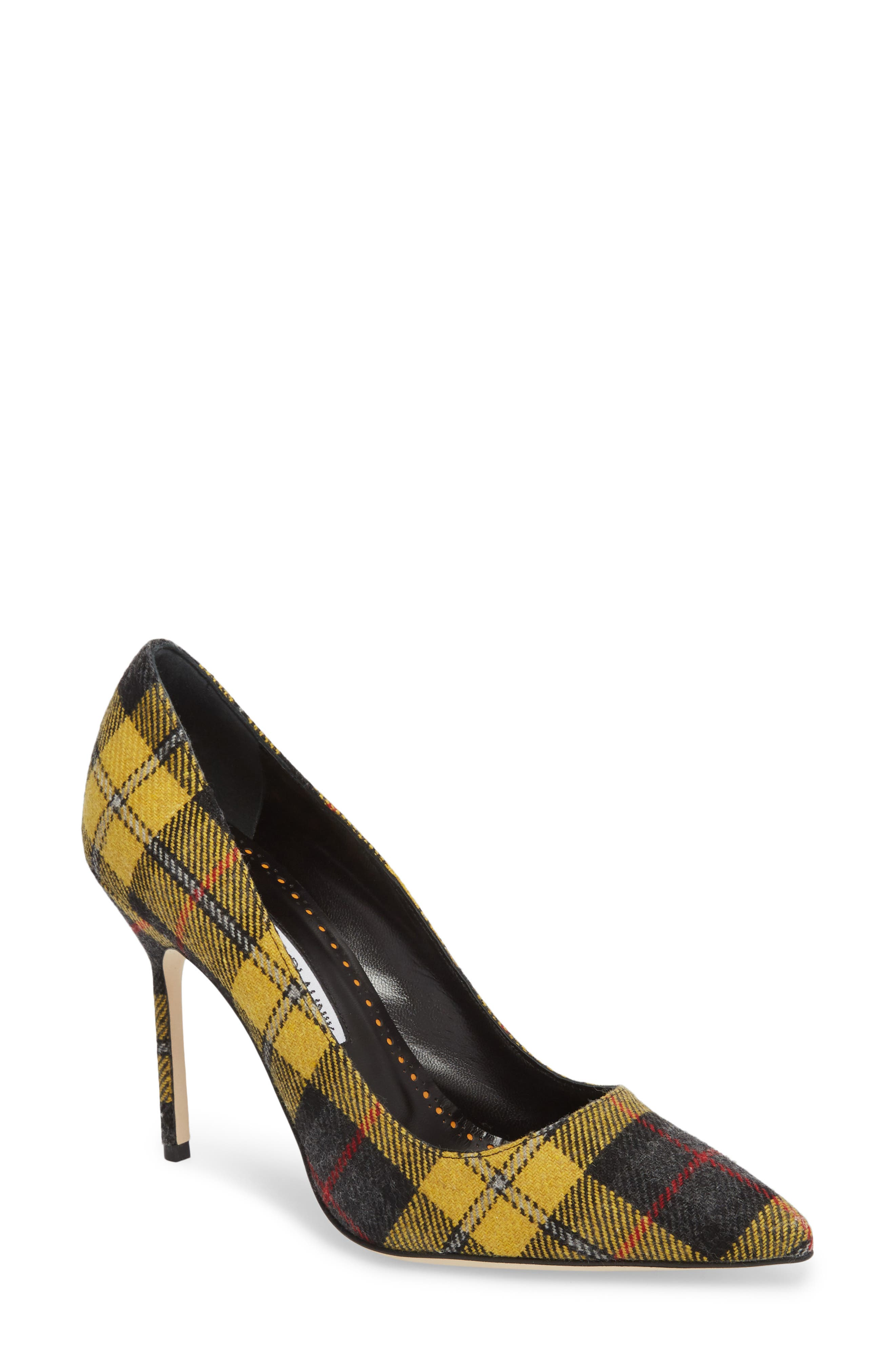 Pointy Toe Pump,                         Main,                         color, Yellow Plaid
