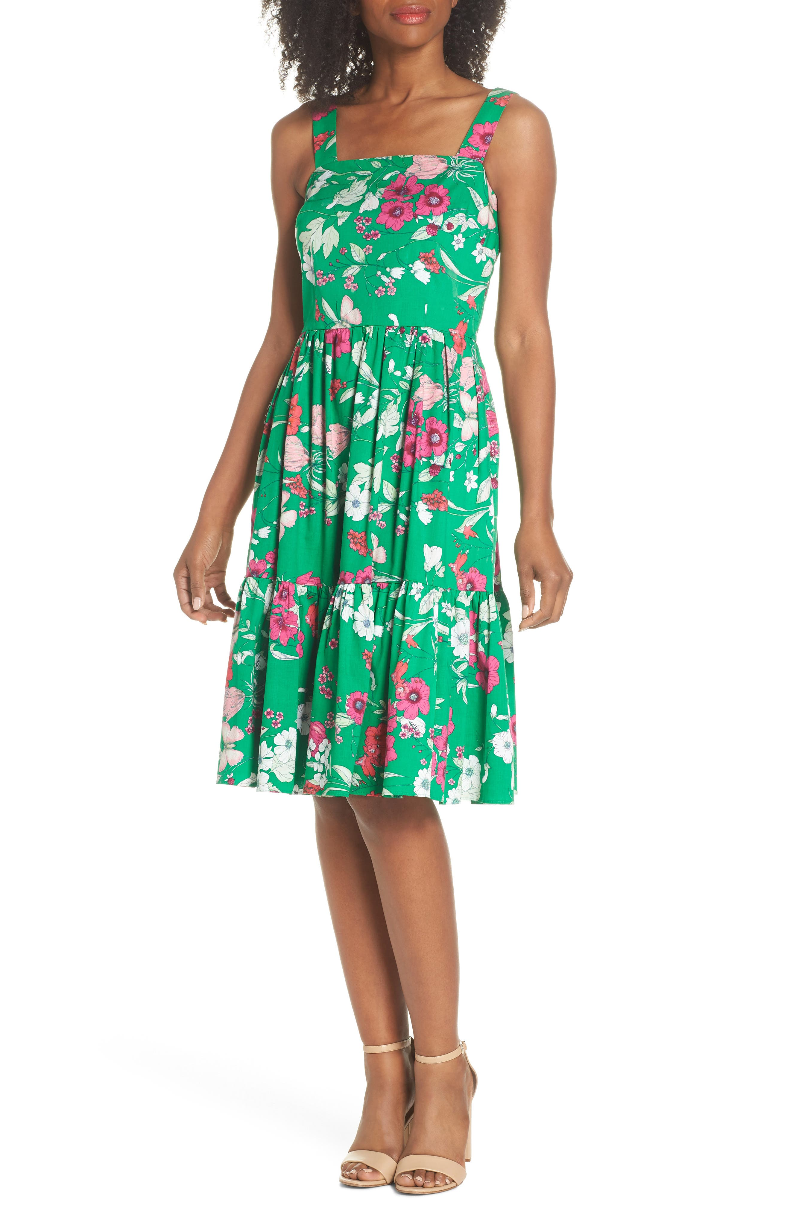 Ruffle Hem Cotton Fit & Flare Sundress,                             Main thumbnail 1, color,                             Green