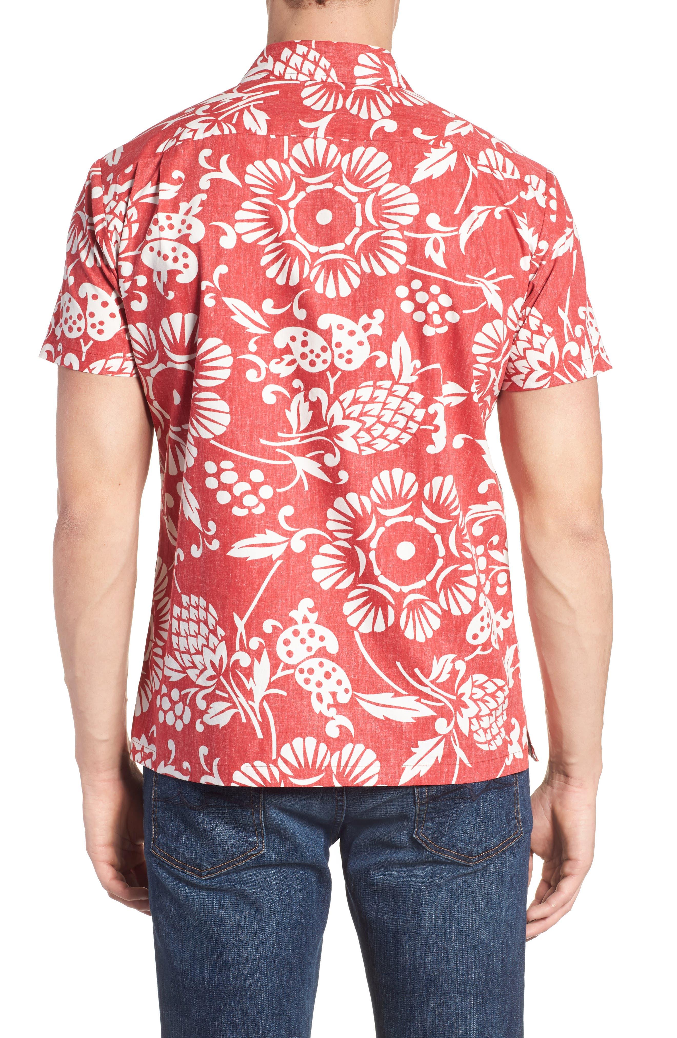Duke's Pareo Trim Fit Sport Shirt,                             Alternate thumbnail 2, color,                             Surfer Red