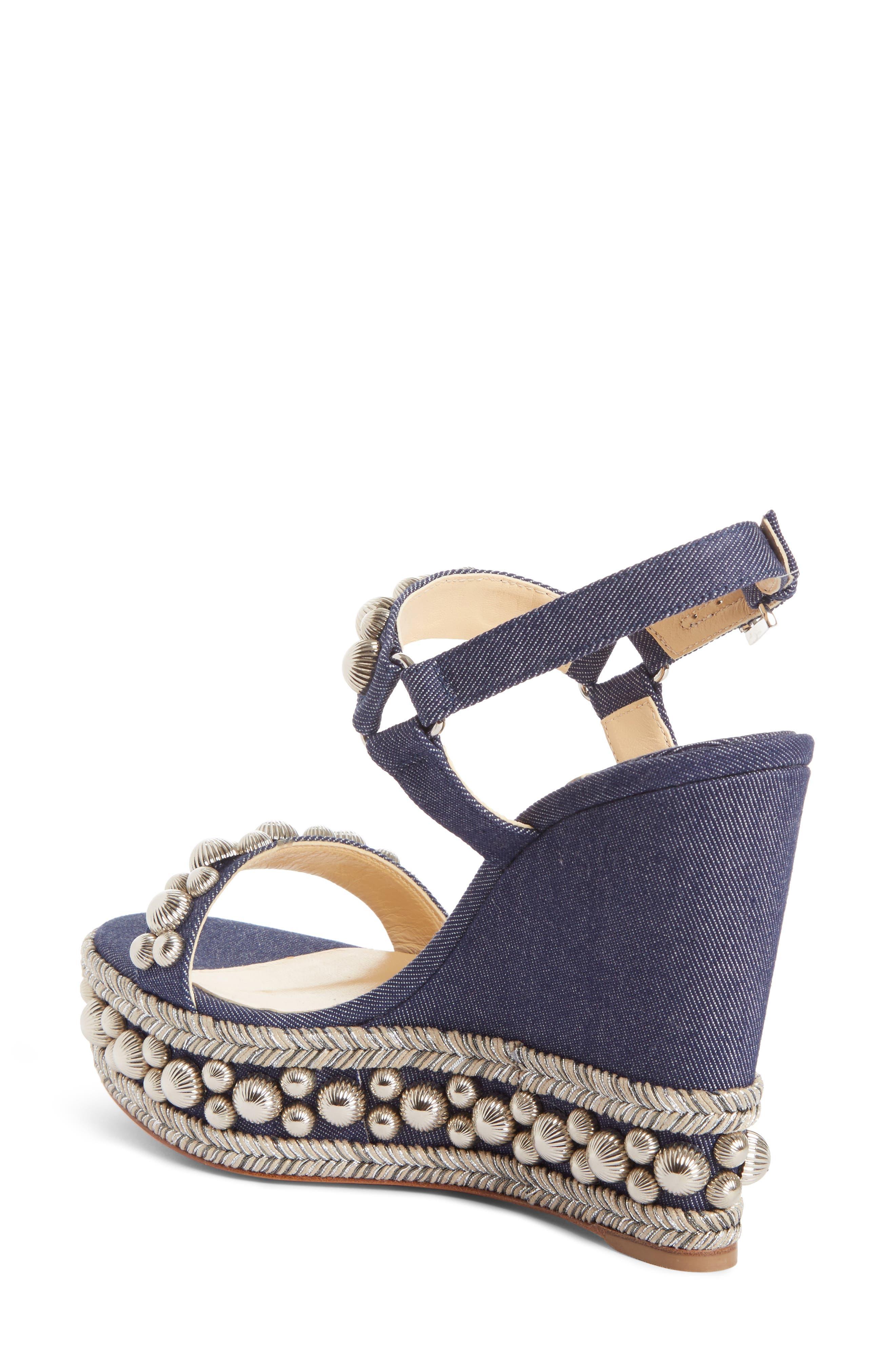 Rondaclou Studded Wedge Sandal,                             Alternate thumbnail 2, color,                             Denim Blue