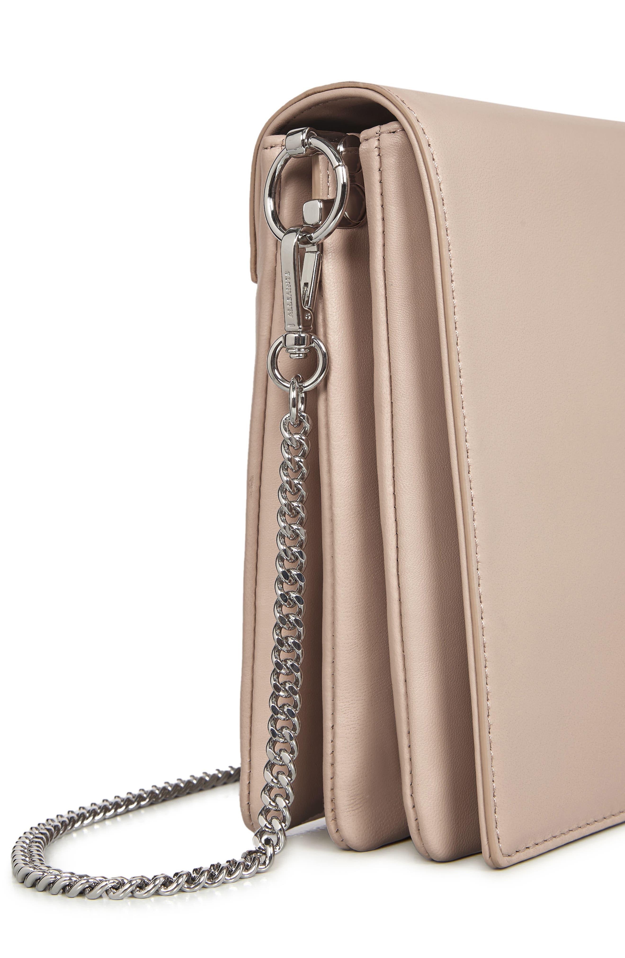 Zep Lambskin Leather Box Bag,                             Alternate thumbnail 4, color,                             Natural