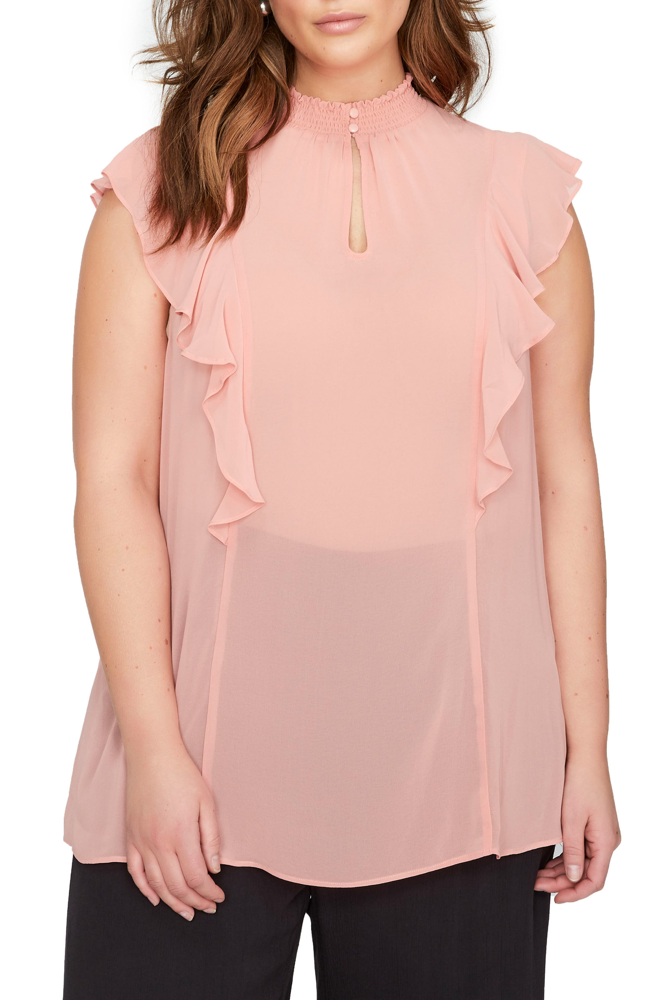 Ruffle Smocked Neck Top,                         Main,                         color, Canyon Rose