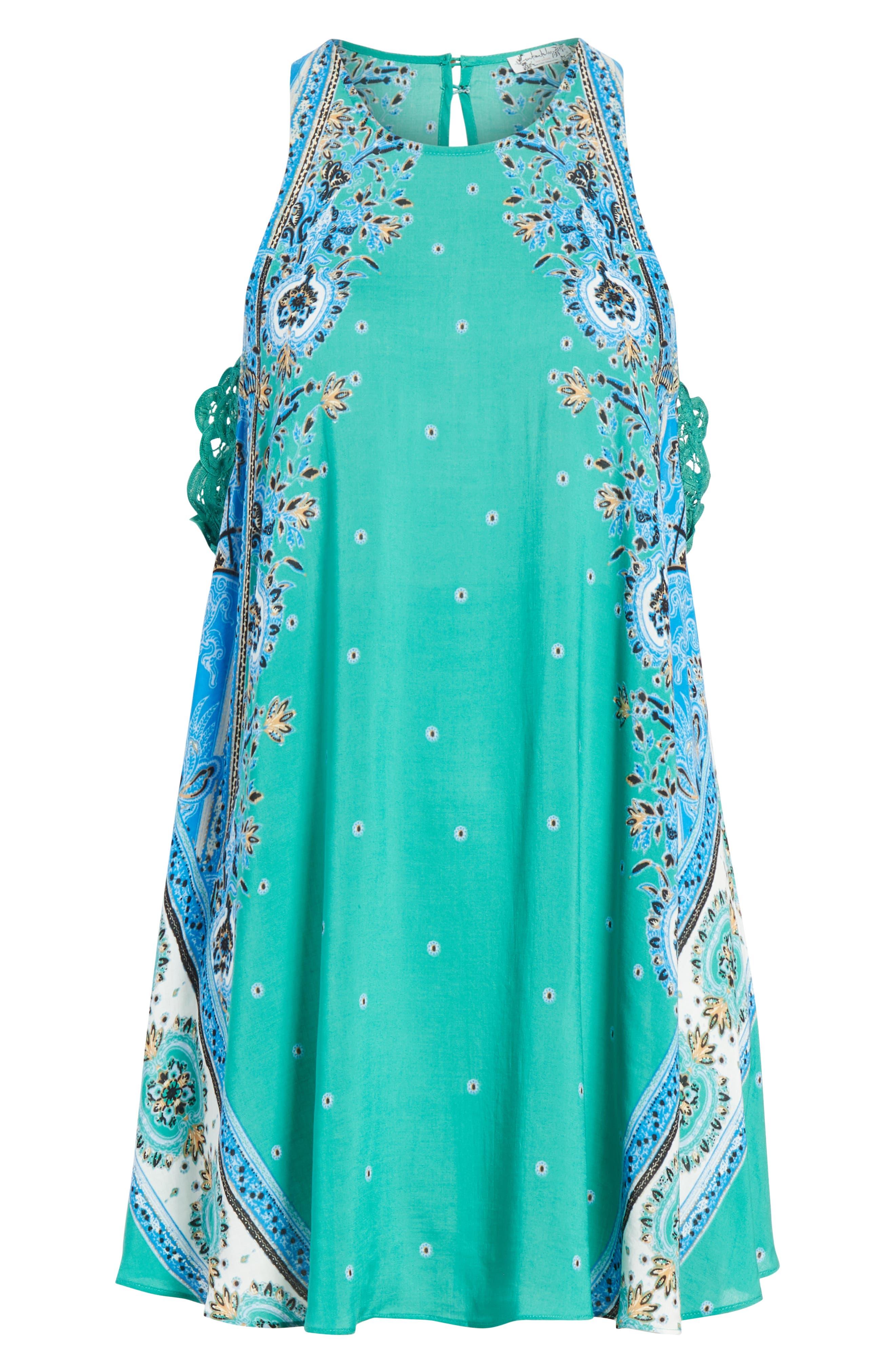 Darjeeling Print Minidress,                             Alternate thumbnail 6, color,                             Green
