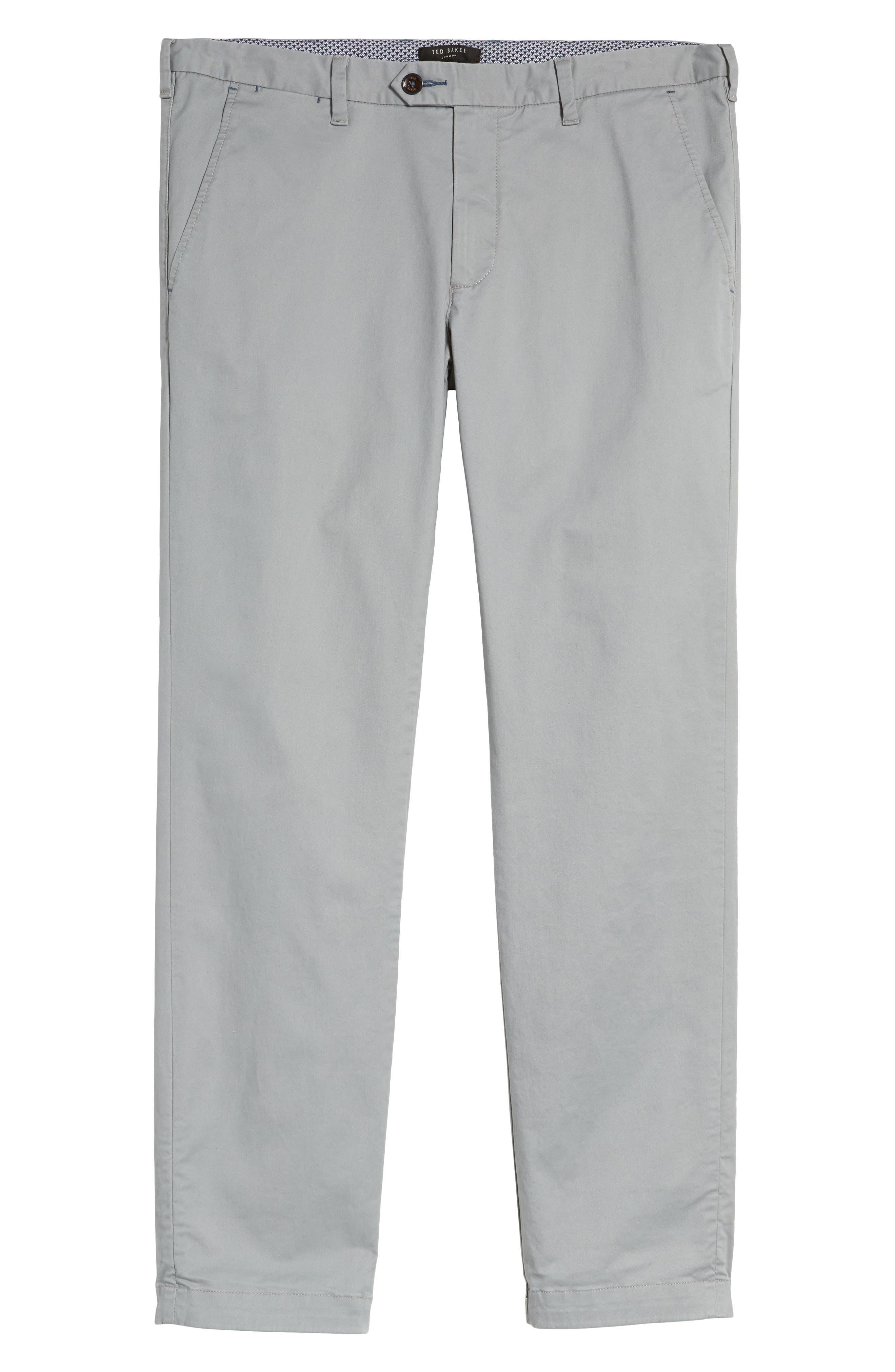 Proctt Flat Front Stretch Solid Cotton Pants,                             Alternate thumbnail 6, color,                             Light Grey