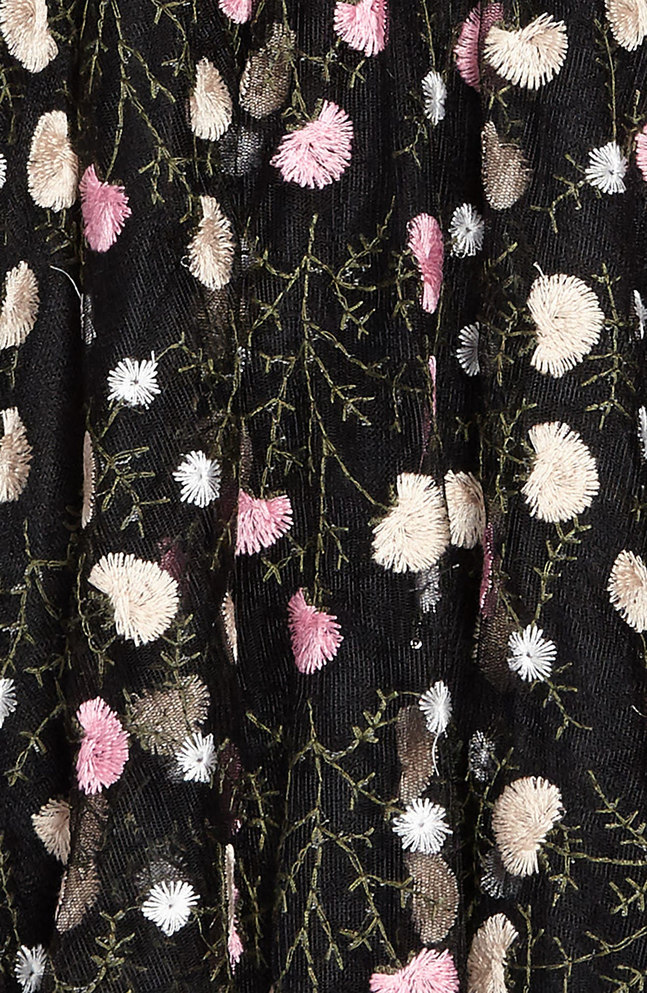 Nancy Embroidered Mesh Dress,                             Alternate thumbnail 3, color,                             Black