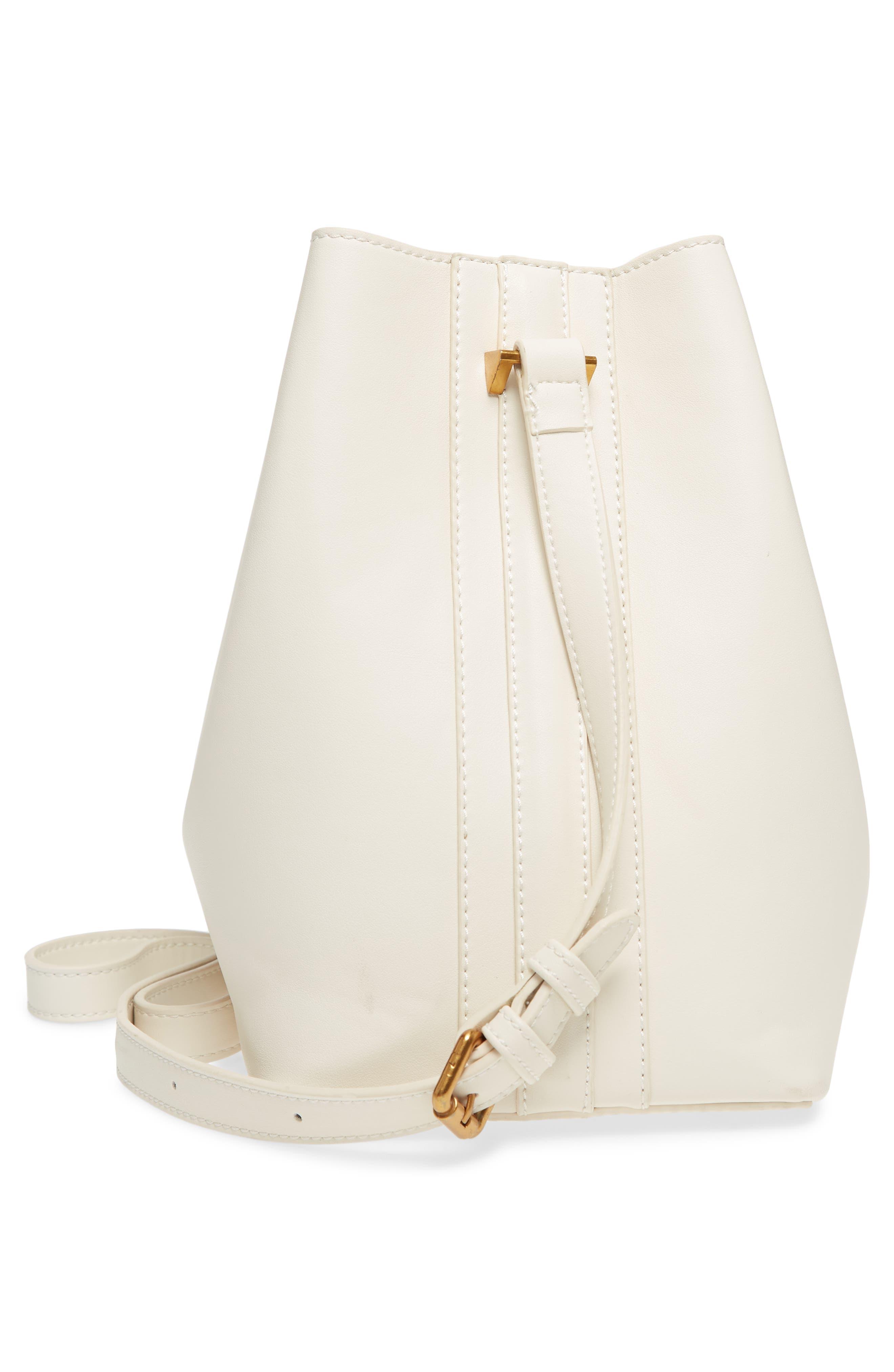 Faux Leather Bucket Tote,                             Alternate thumbnail 5, color,                             White/ Blush
