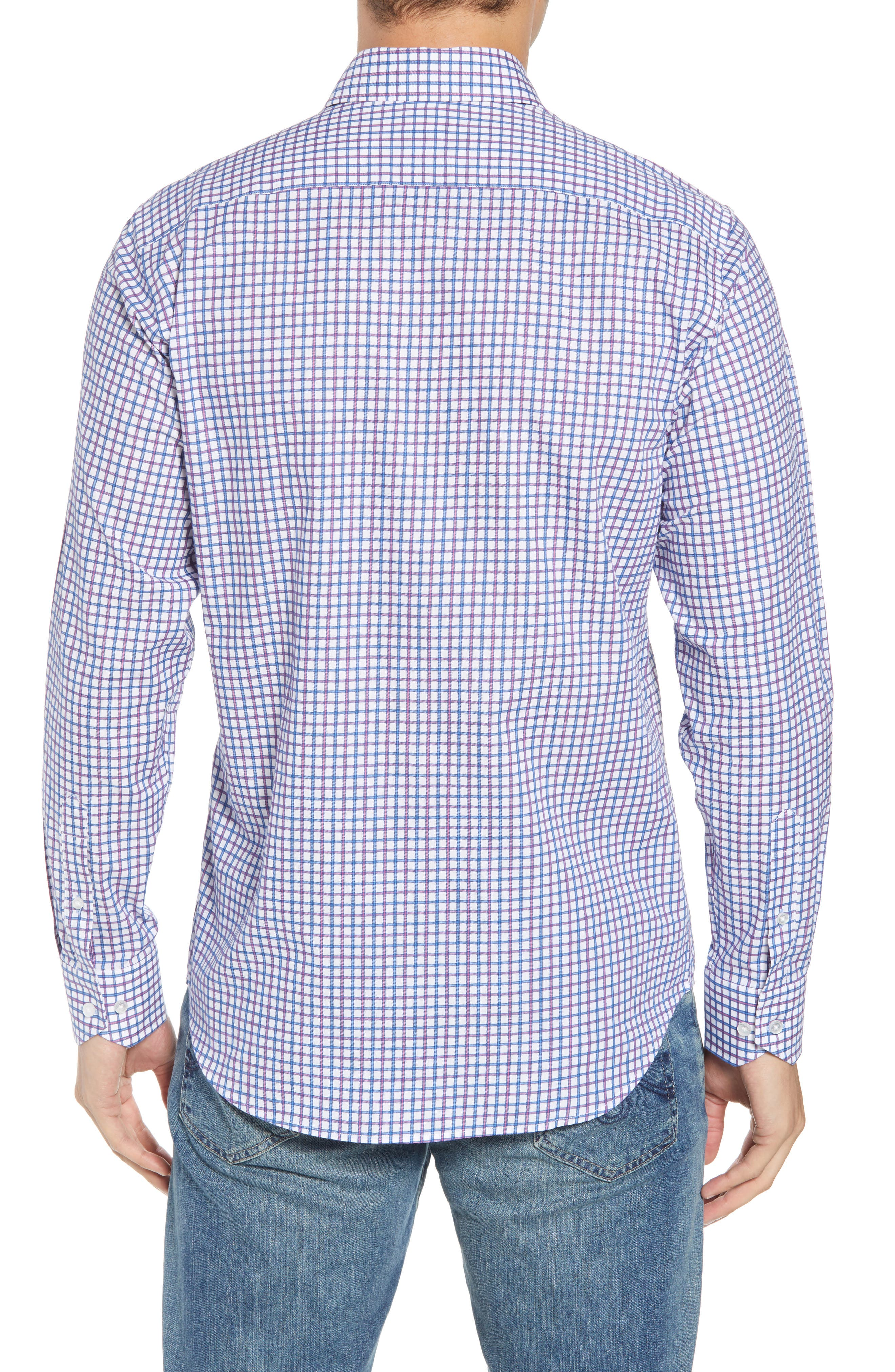 Beck Regular Fit Windowpane Sport Shirt,                             Alternate thumbnail 3, color,                             Blue