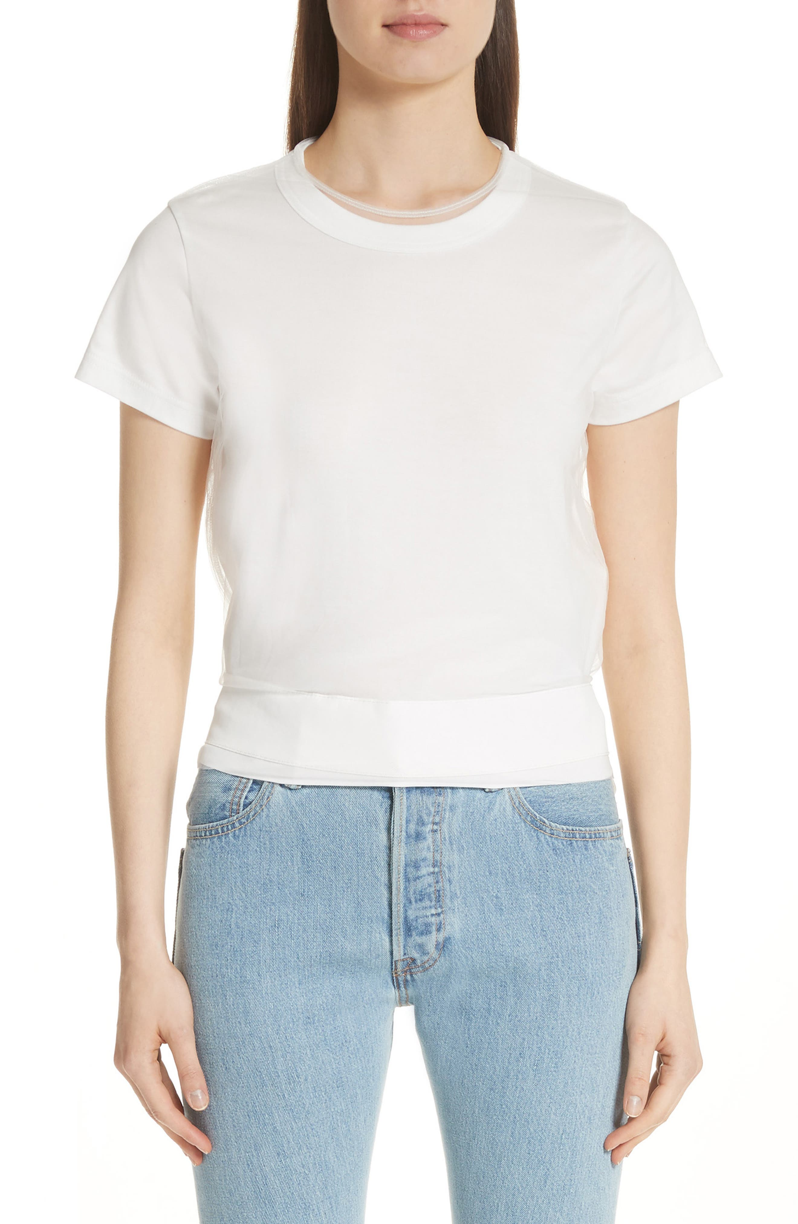 Tulle Back Tee,                         Main,                         color, White