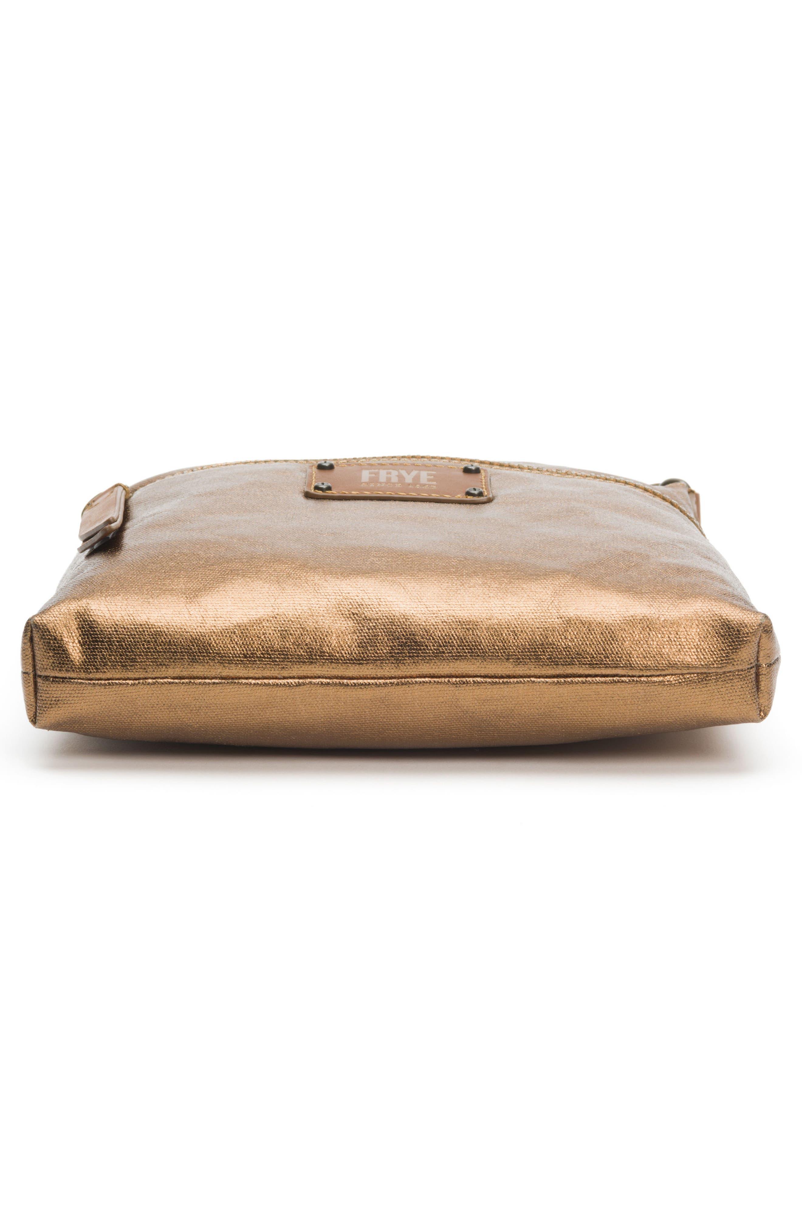 Ivy Metallic Nylon Crossbody Bag,                             Alternate thumbnail 6, color,                             Bronze