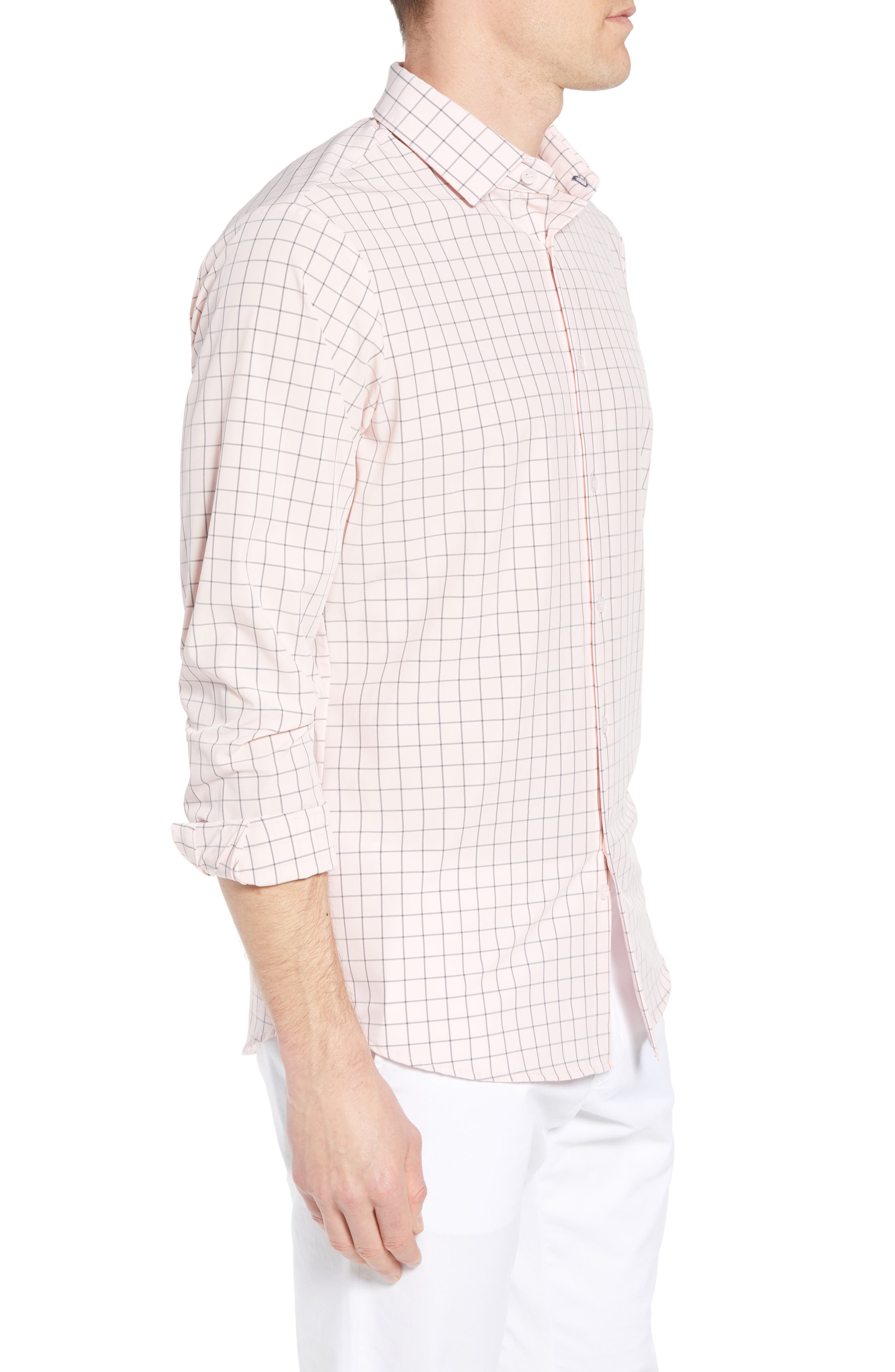 Andrews Slim Fit Windowpane Performance Sport Shirt,                             Alternate thumbnail 4, color,                             Pink