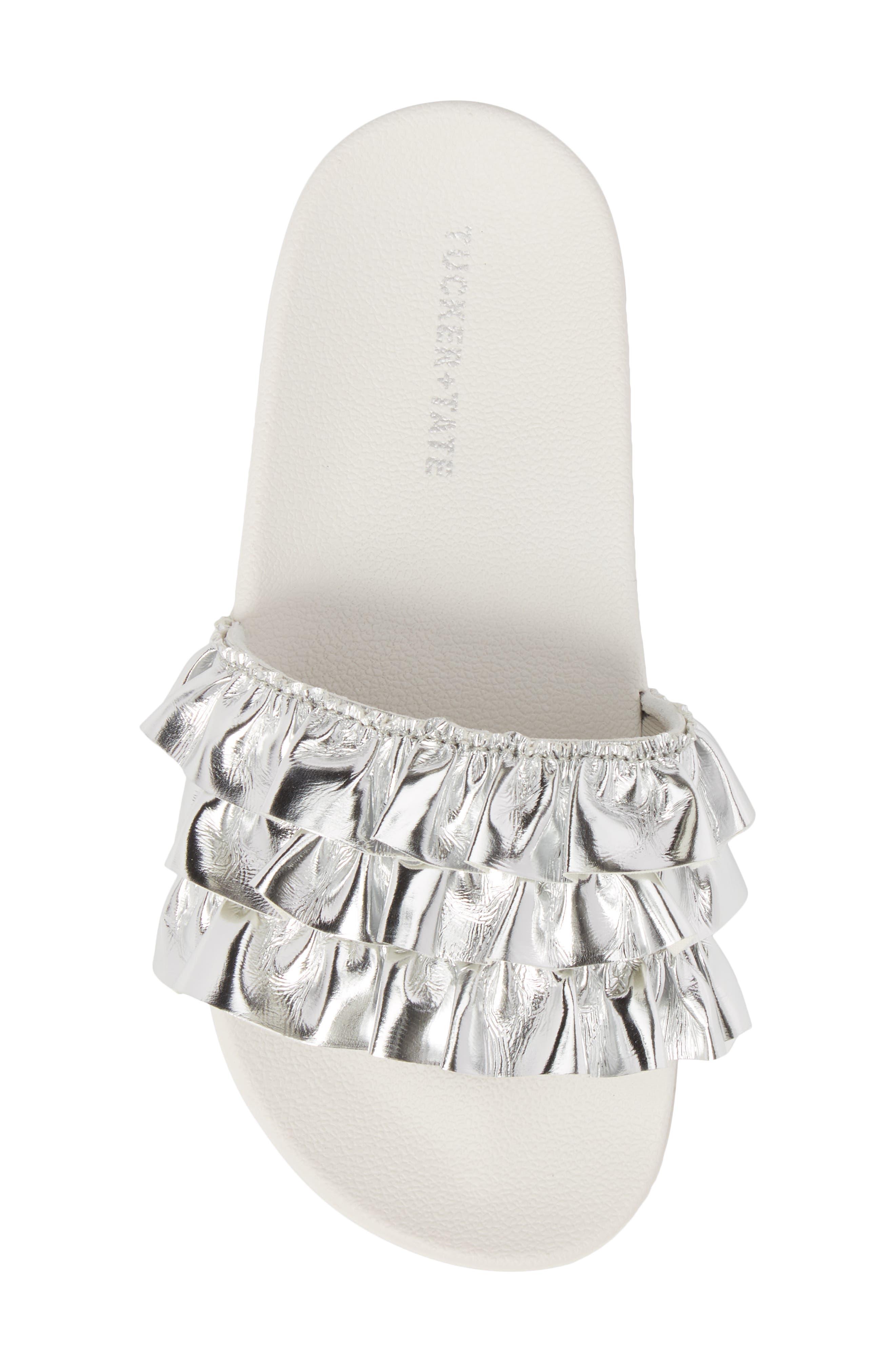 Metallic Ruffle Slide Sandal,                             Alternate thumbnail 5, color,                             Silver Faux Leather
