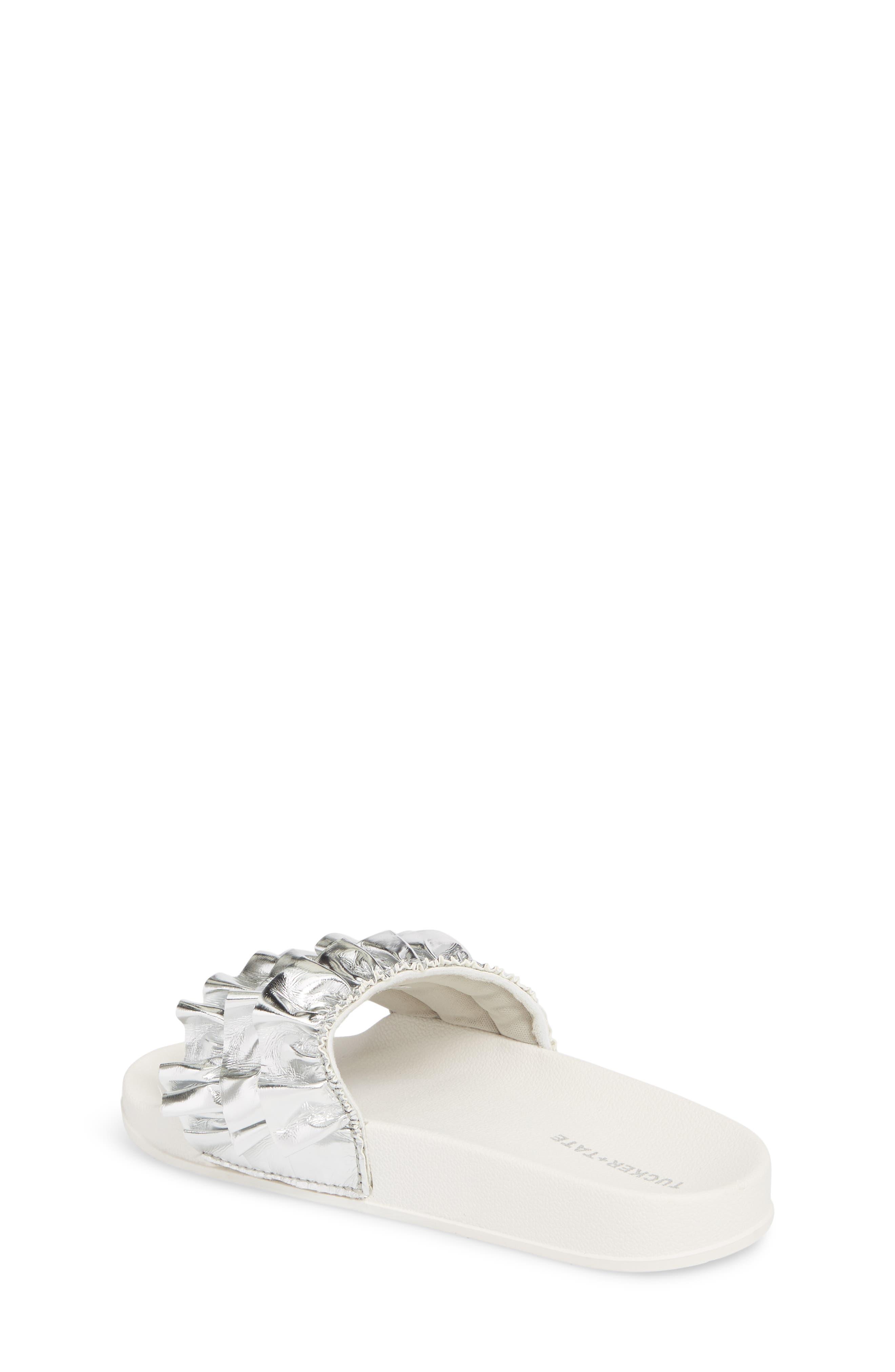 Metallic Ruffle Slide Sandal,                             Alternate thumbnail 2, color,                             Silver Faux Leather