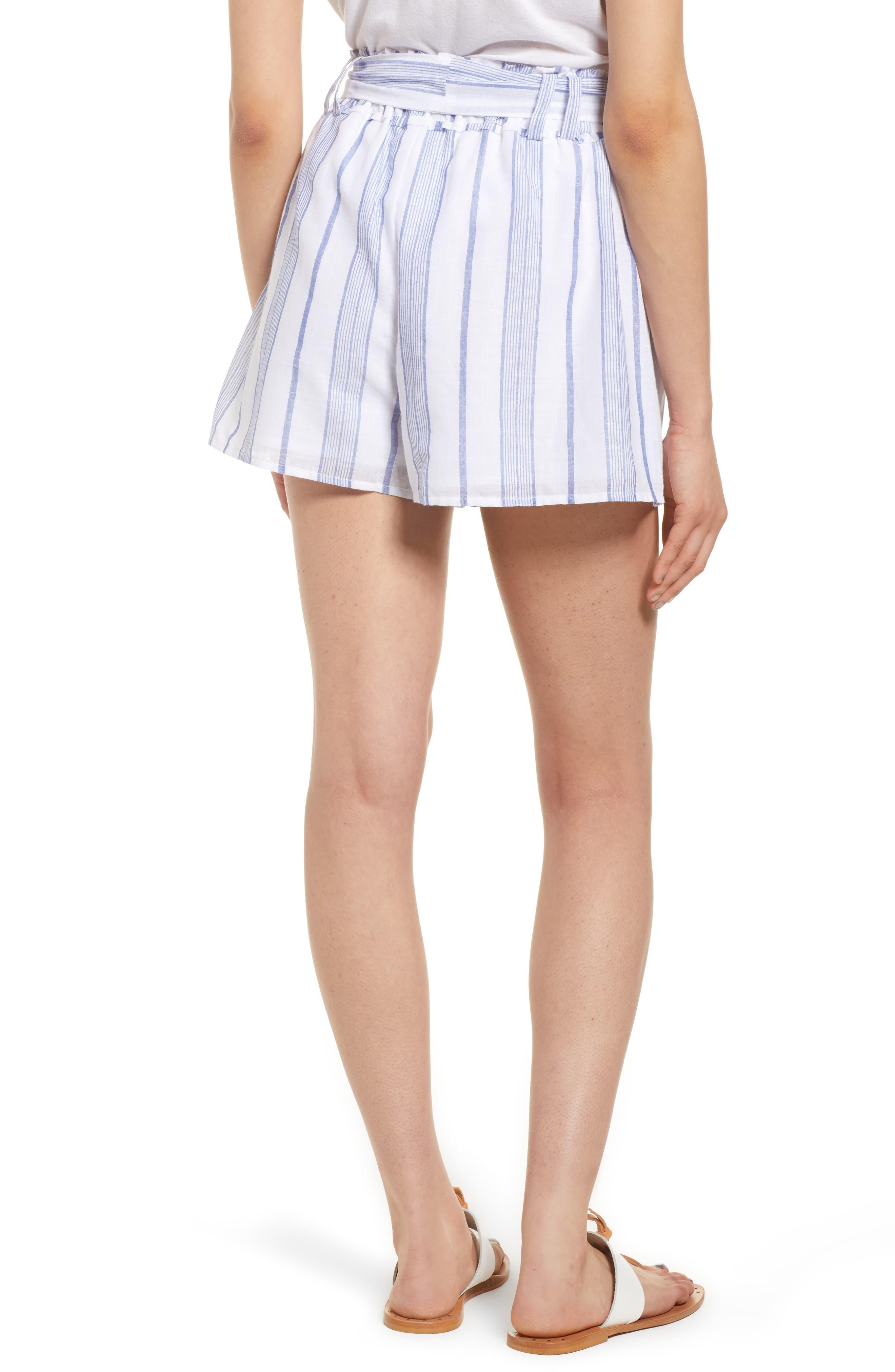 Stripe Tie Waist Shorts,                             Alternate thumbnail 3, color,                             Sky Stripe