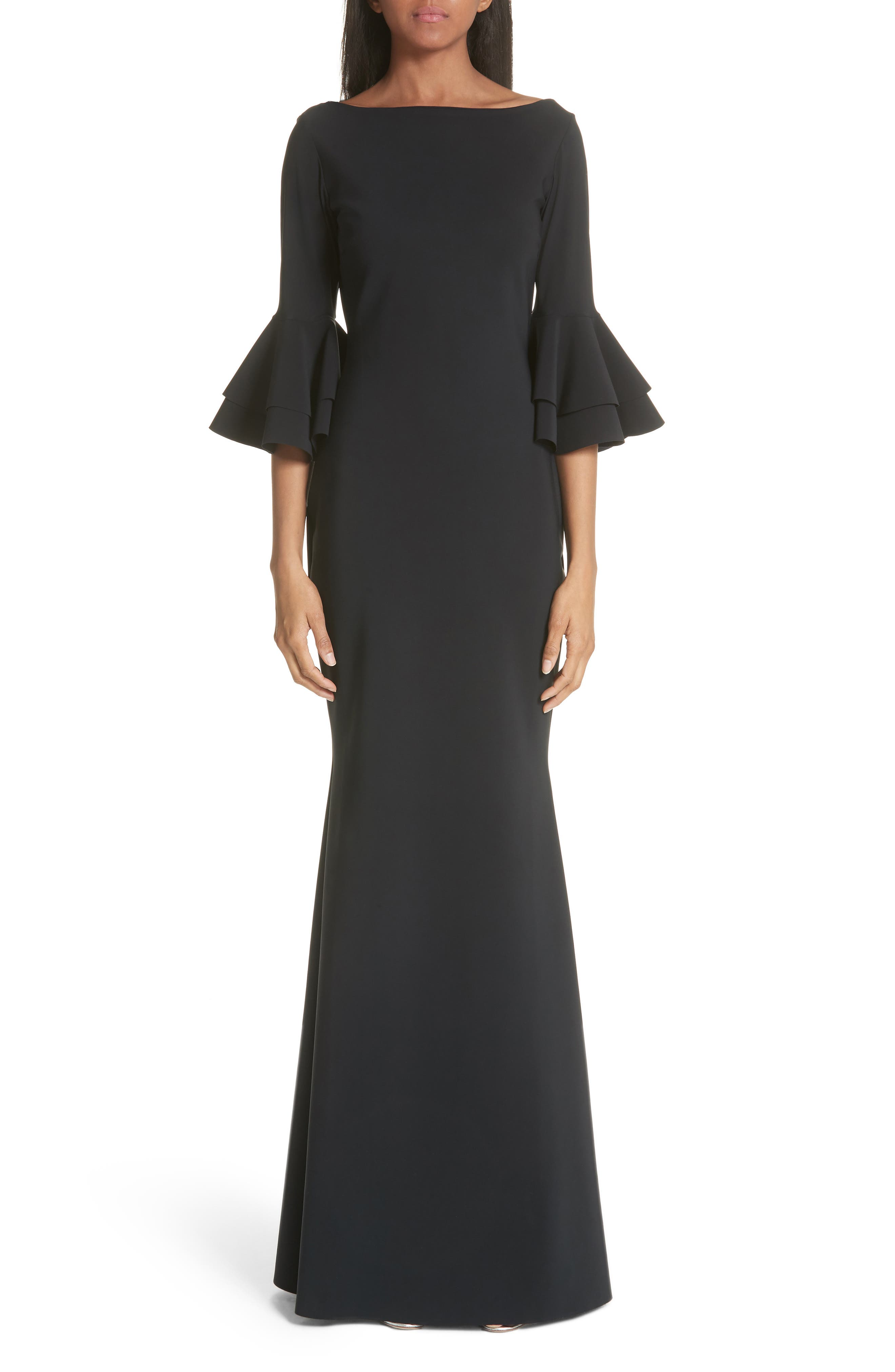 Iva Ruffle Bell Sleeve Gown,                             Main thumbnail 1, color,                             Black