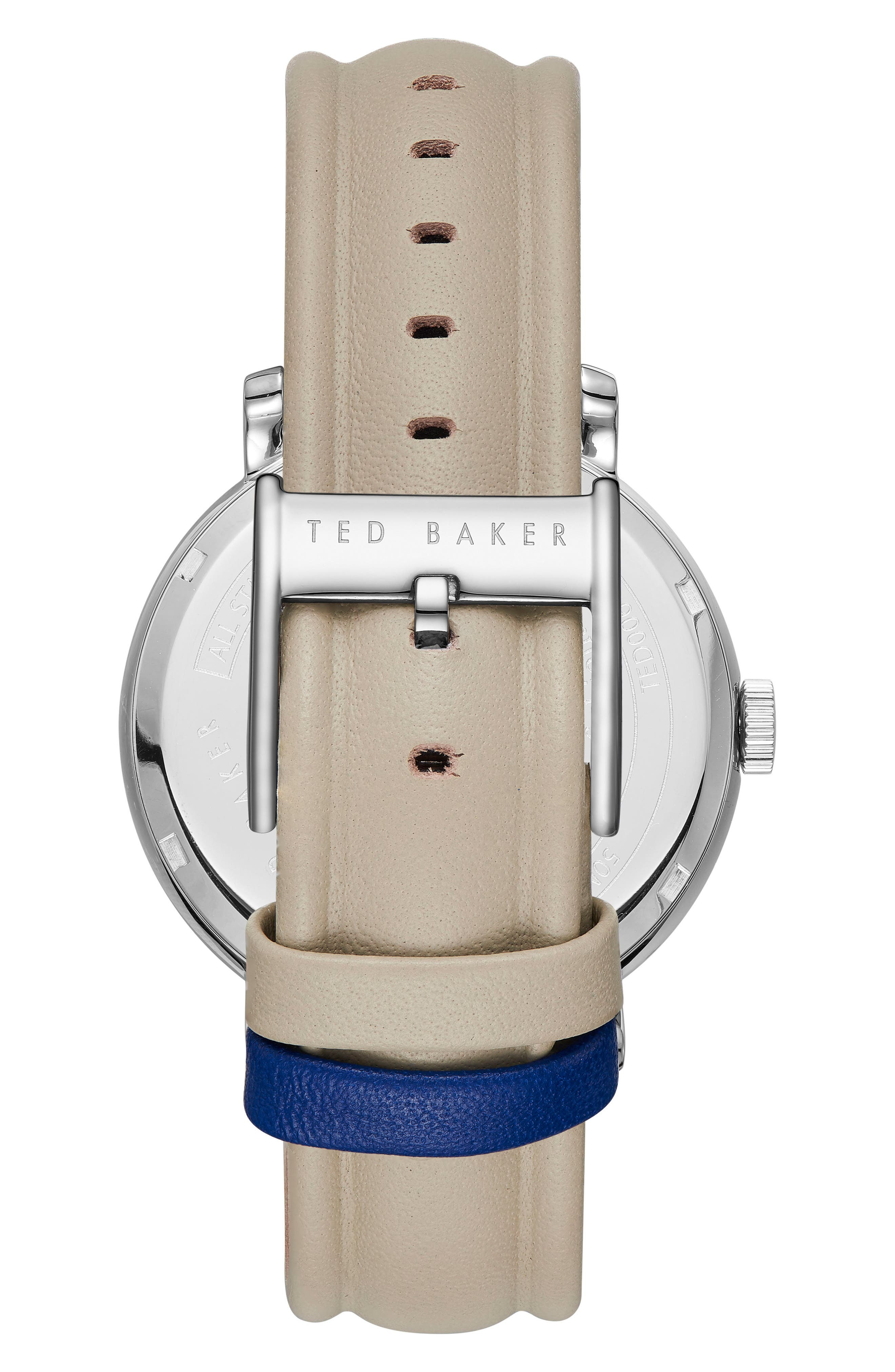 Trent Leather Strap Watch, 43mm,                             Alternate thumbnail 2, color,                             Blue/ Light Green