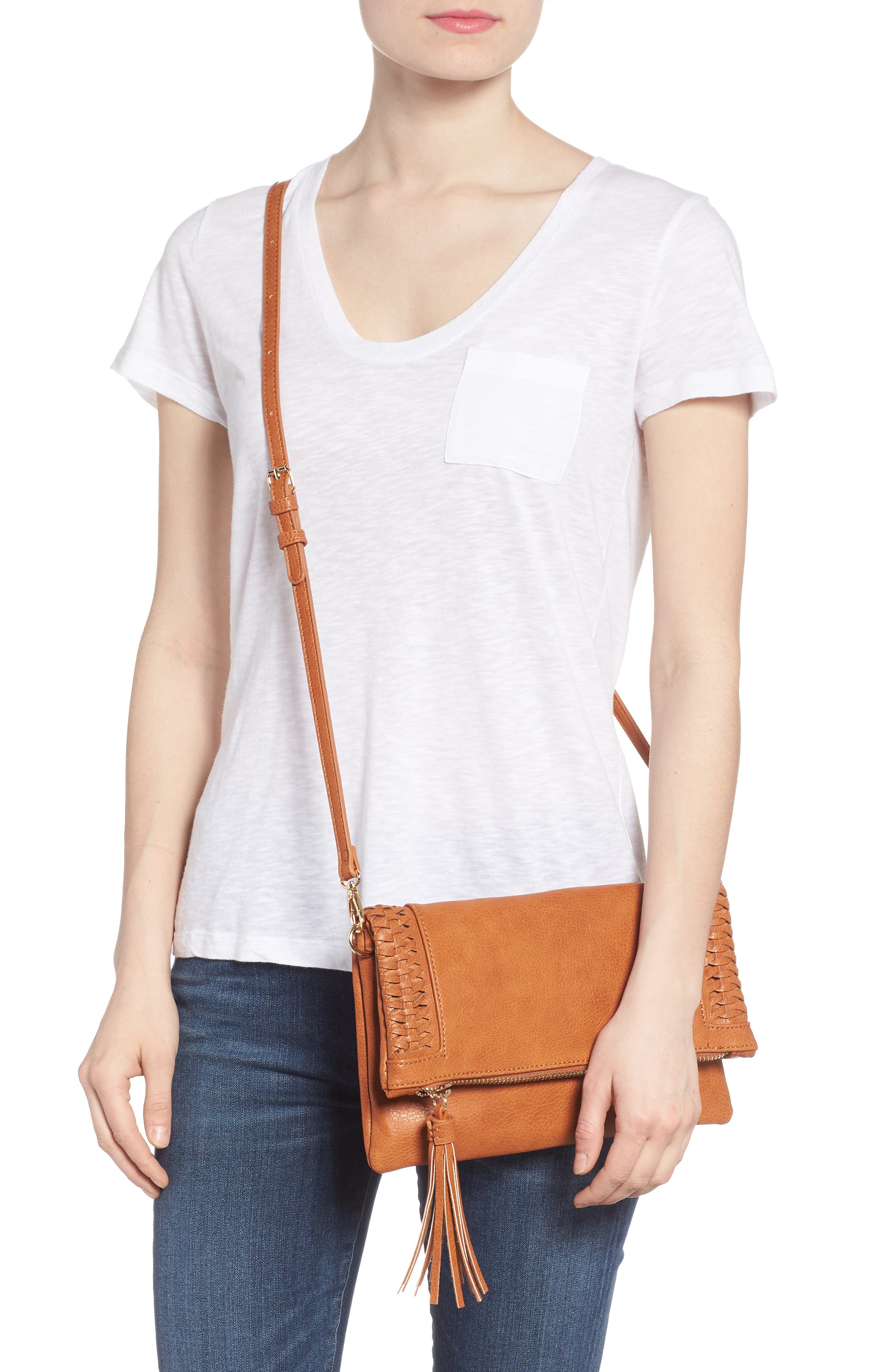 Tara Whipstitched Faux Leather Clutch,                             Alternate thumbnail 2, color,                             Cognac