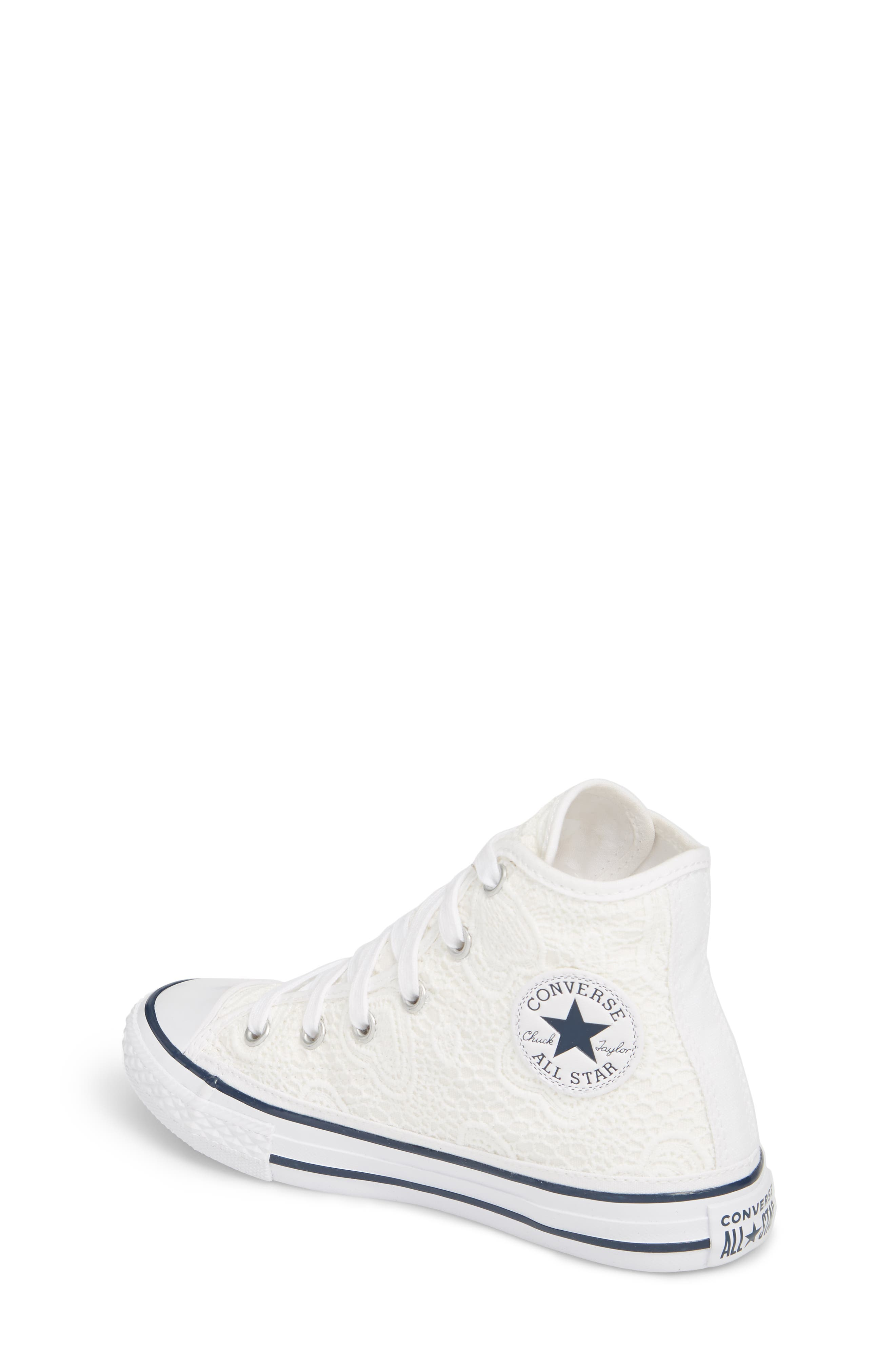 Chuck Taylor<sup>®</sup> All Star<sup>®</sup> Crochet High Top Sneaker,                             Alternate thumbnail 2, color,                             White