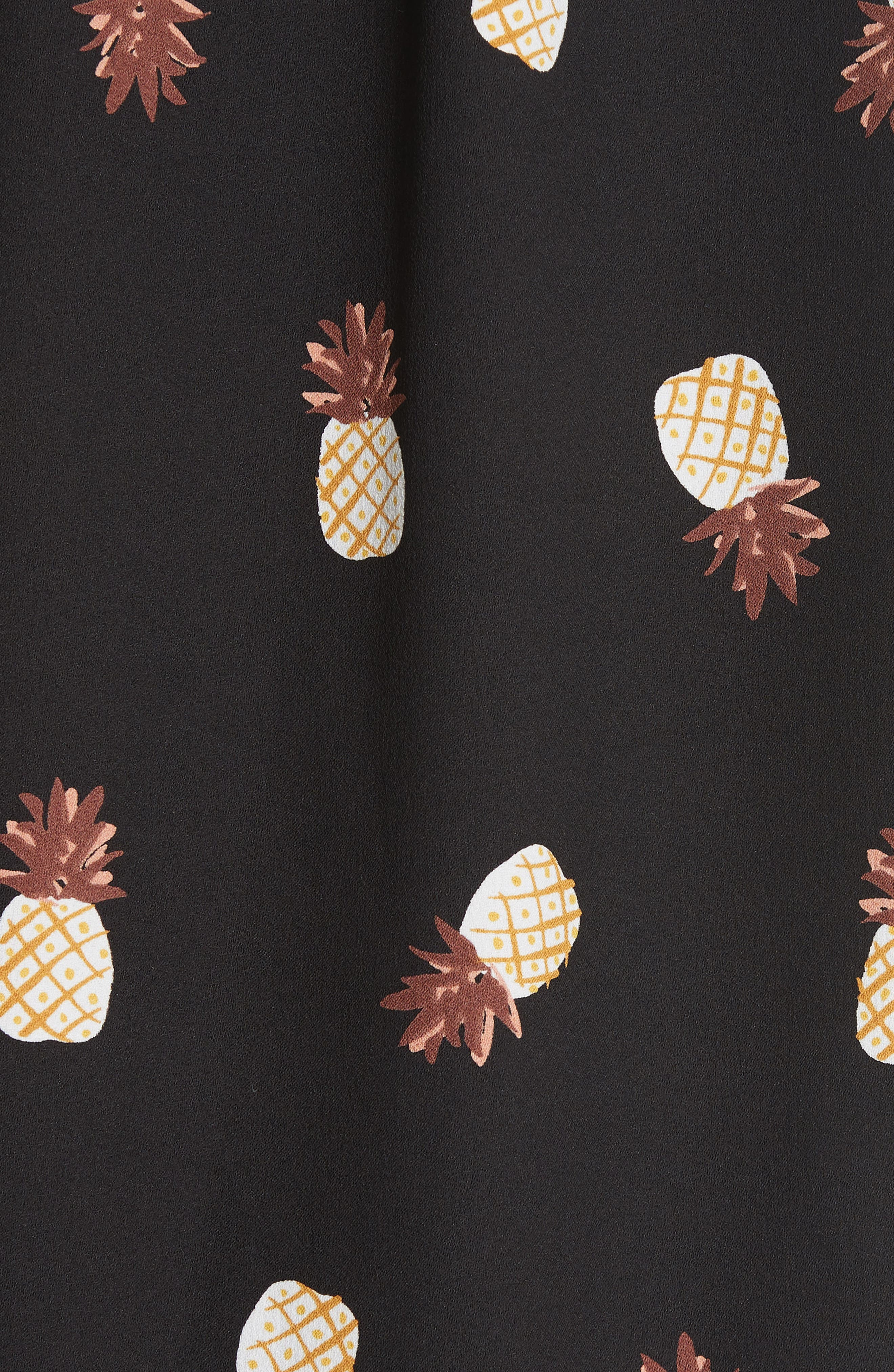 pineapple print ruffed blouse,                             Alternate thumbnail 5, color,                             Black