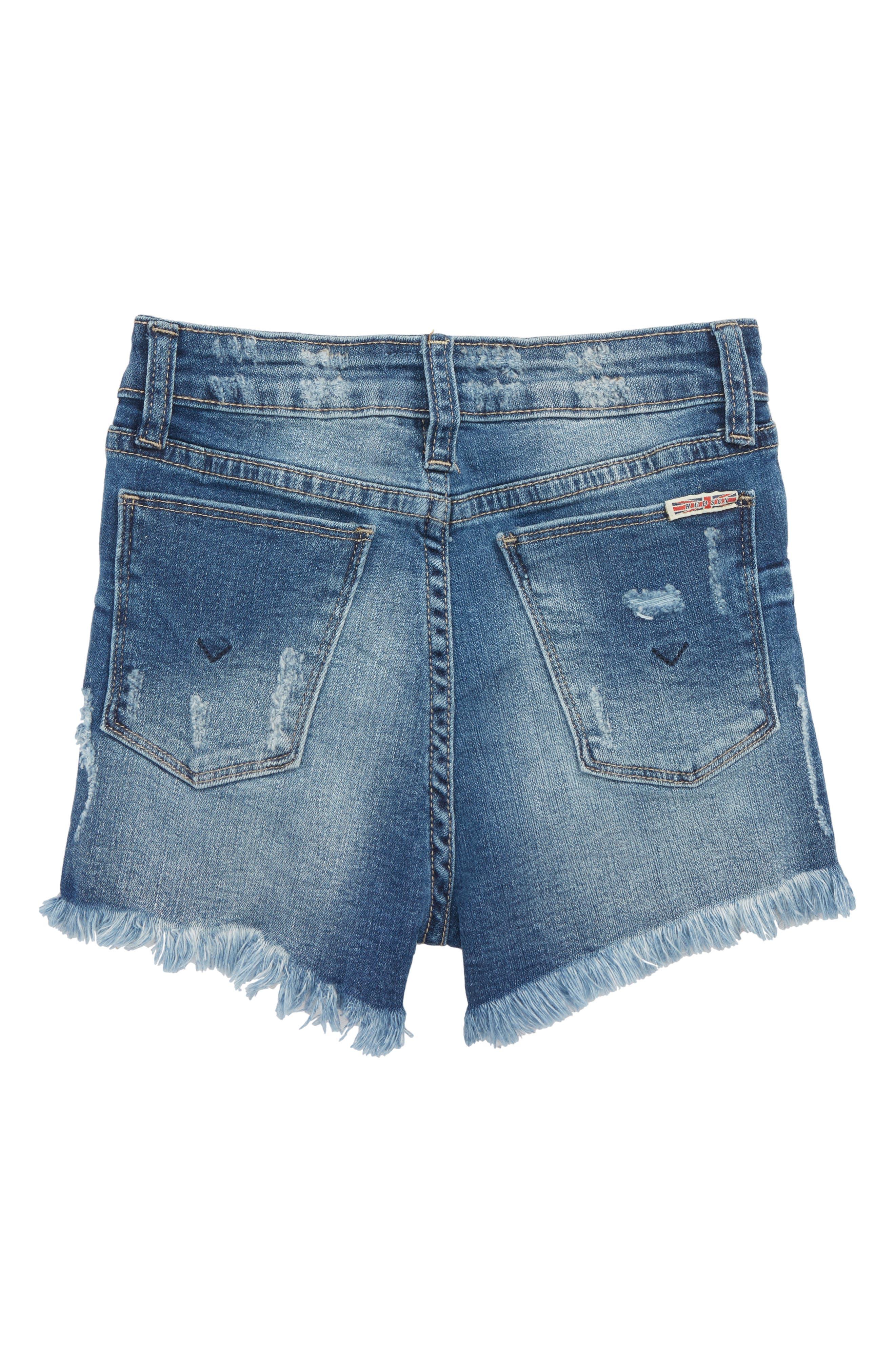 Lily High Waist Cutoff Denim Shorts,                             Alternate thumbnail 2, color,                             Iom-Indigo Mix