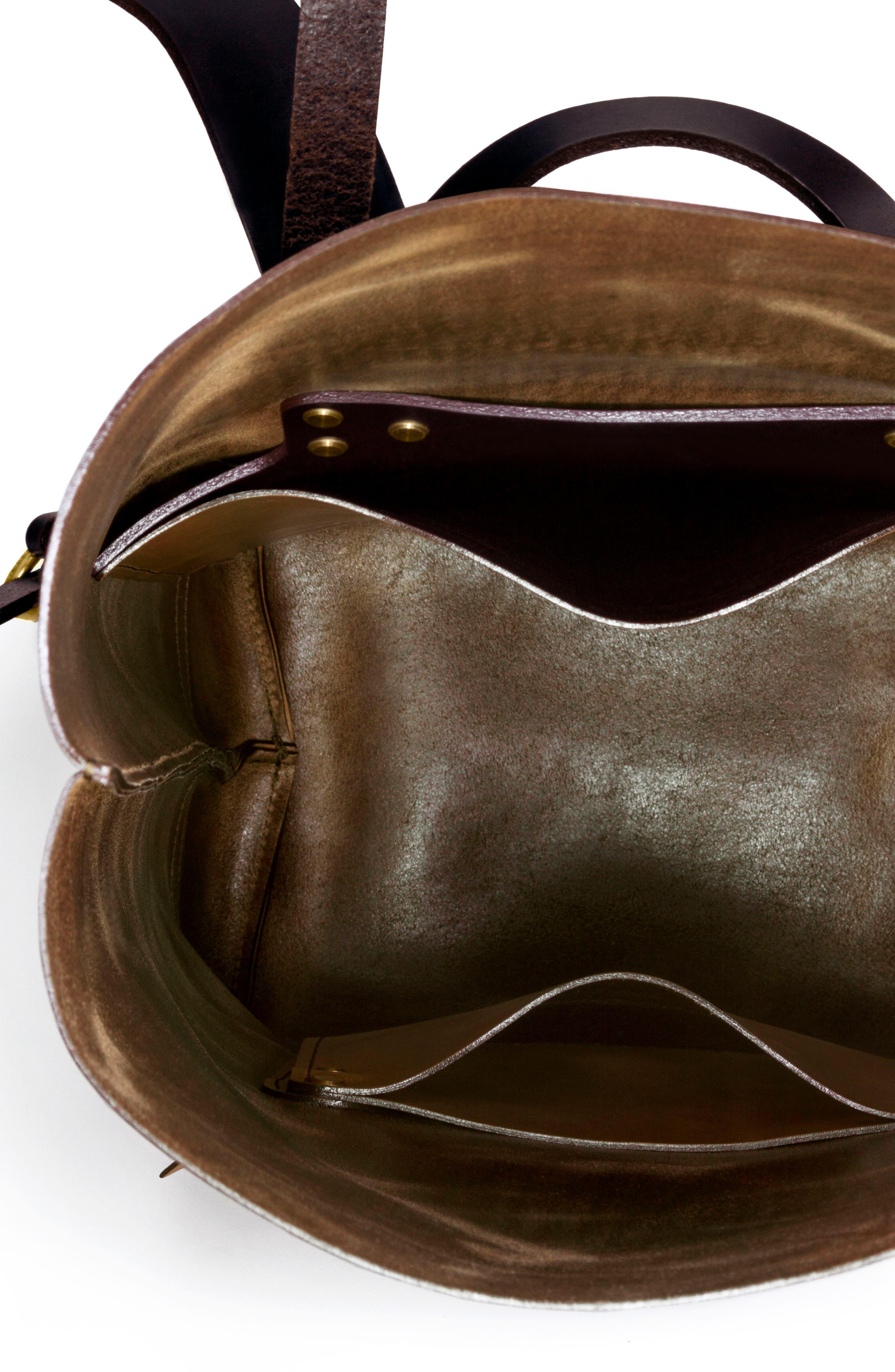 Keystone Brass Detail Leather Rucksack,                             Alternate thumbnail 3, color,                             Whiskey / Brass