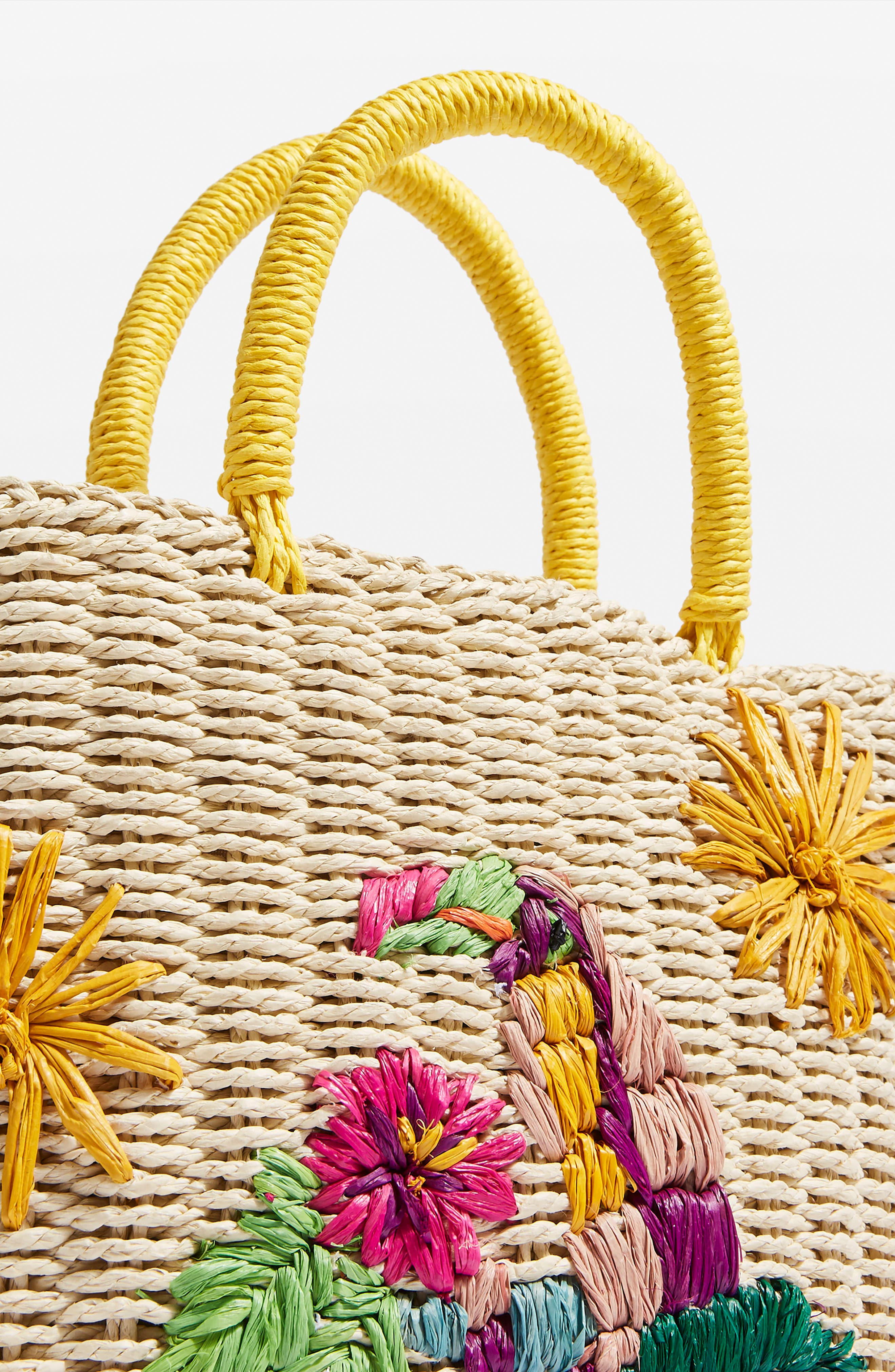 Betsy Toucan Straw Bag,                             Alternate thumbnail 4, color,                             Nude Multi