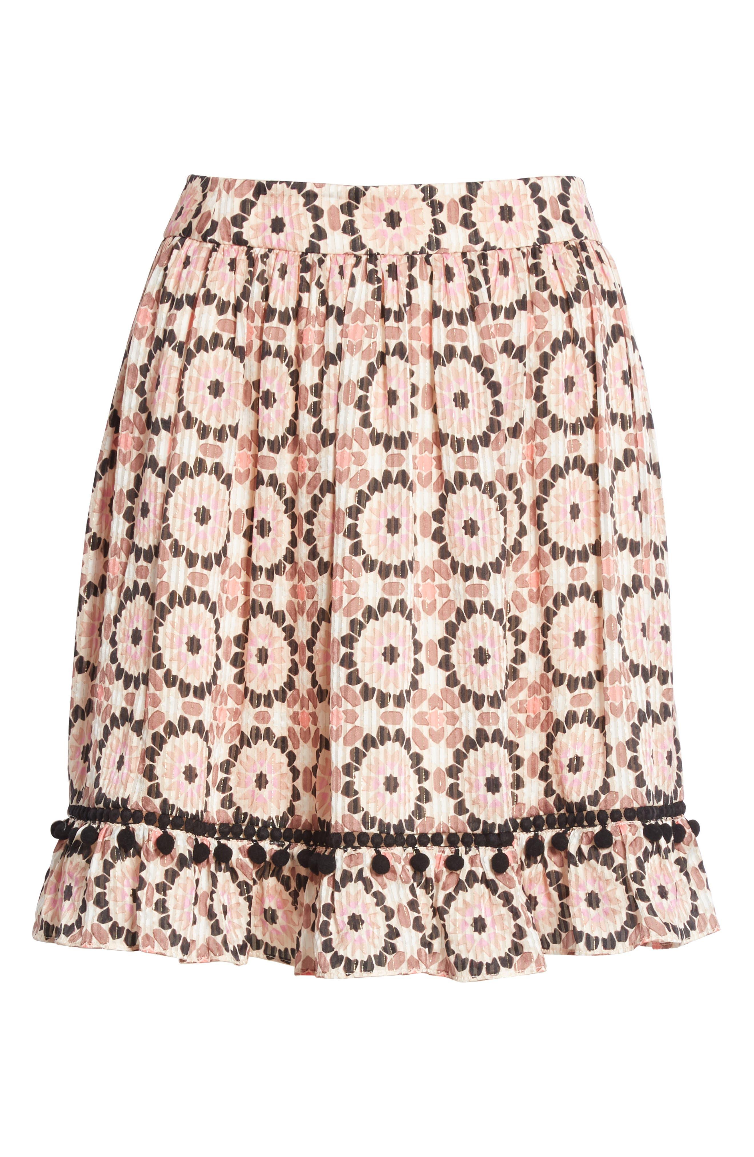 floral mosaic silk blend skirt,                             Alternate thumbnail 6, color,                             Pearl Pink Multi