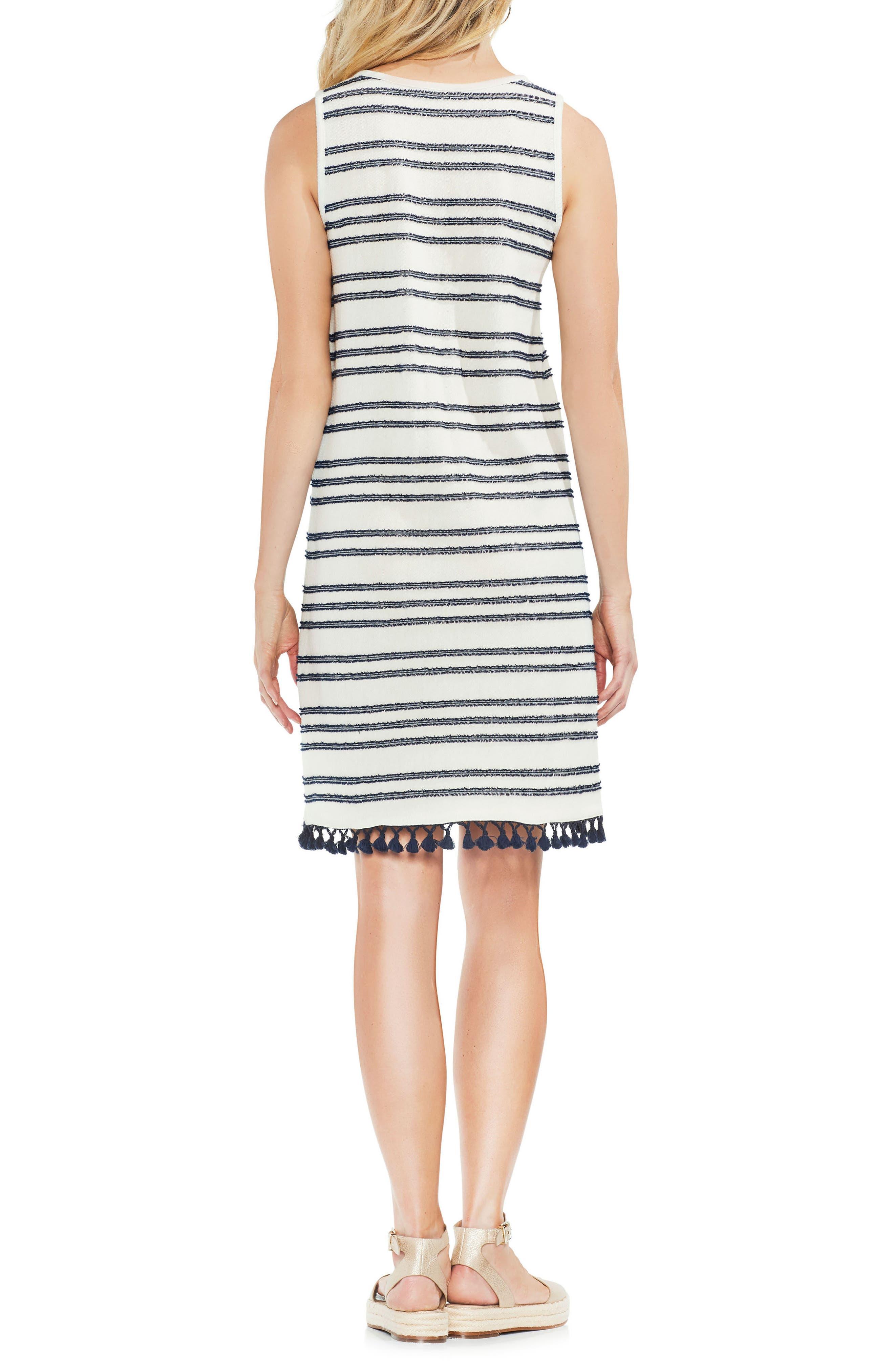Fringe Hem Stripe Cotton Blend Dress,                             Alternate thumbnail 2, color,                             Black Iris
