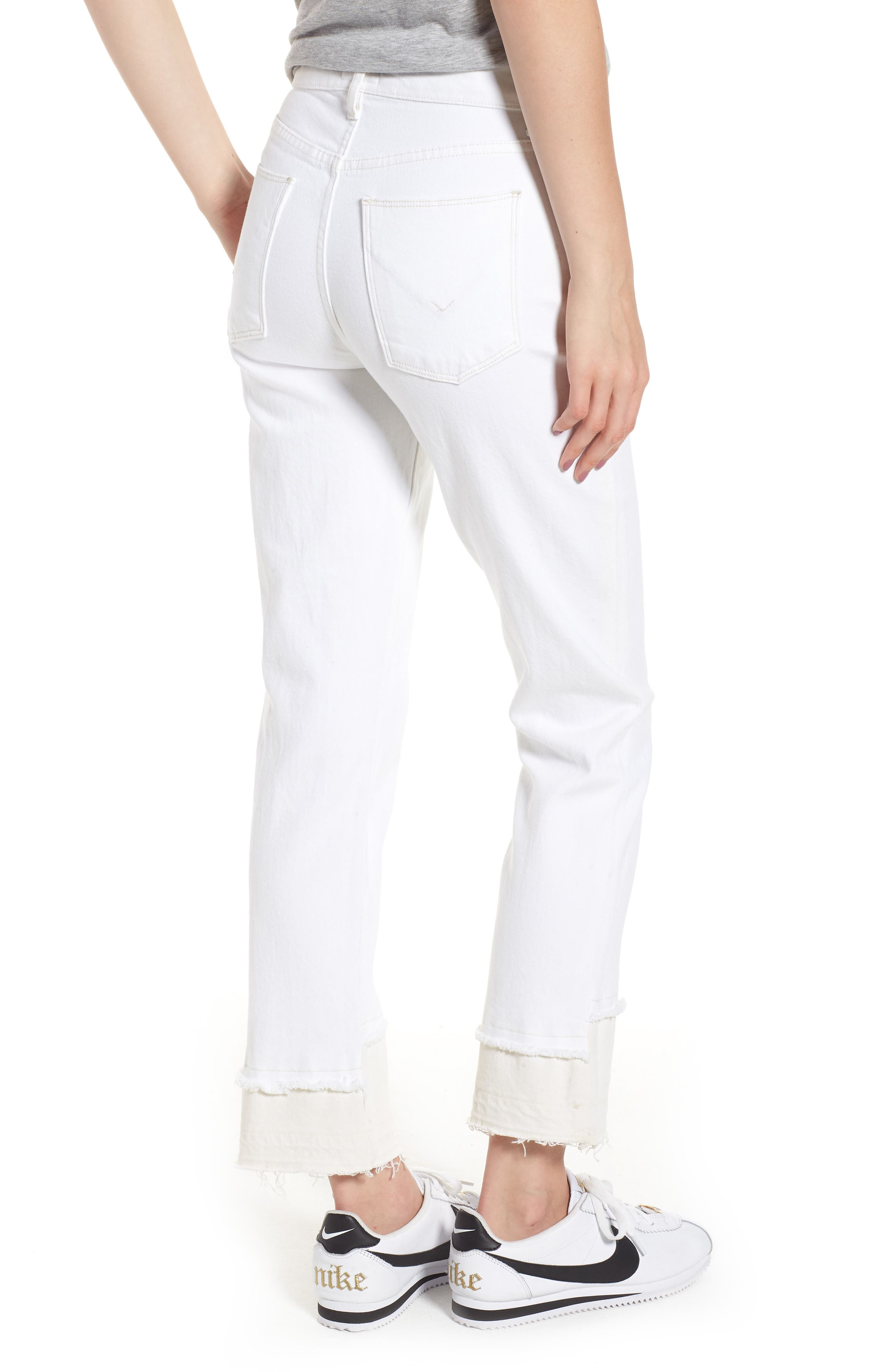 Zoeey High Waist Crop Straight Leg Jeans,                             Alternate thumbnail 2, color,                             Stepped White