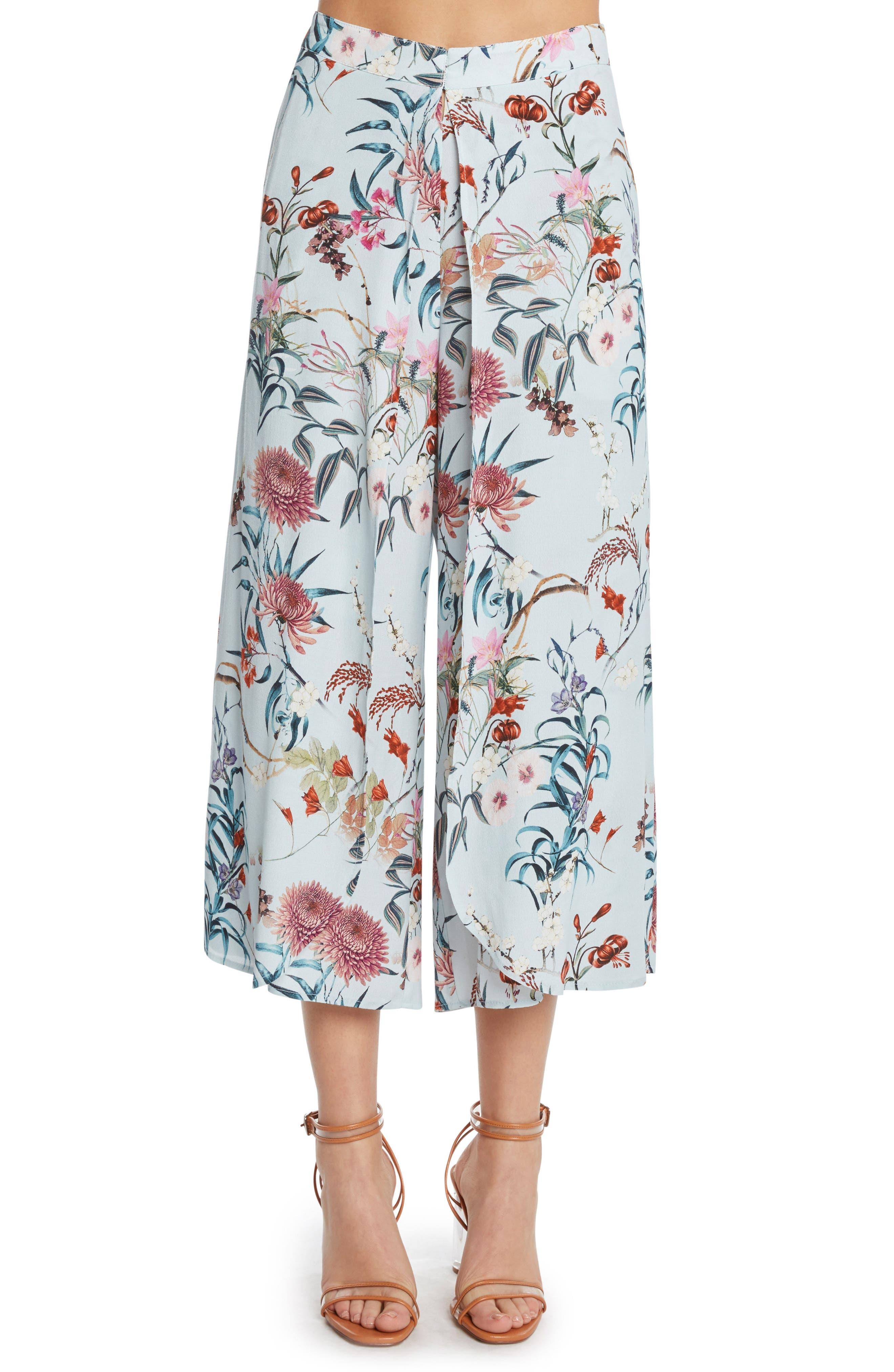 Print Layered Culottes,                         Main,                         color, Mint
