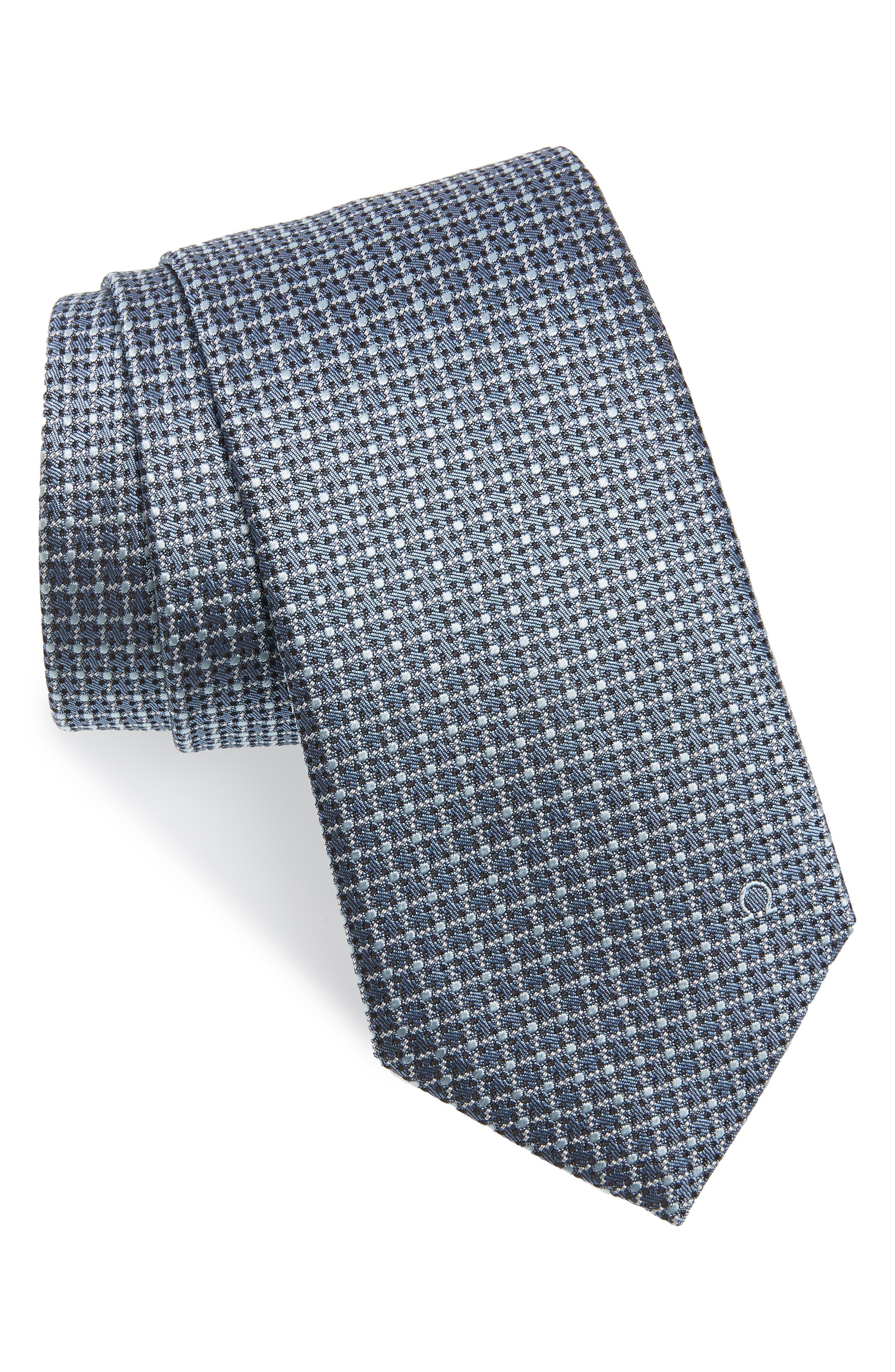 Grid Silk Tie,                         Main,                         color, Grey