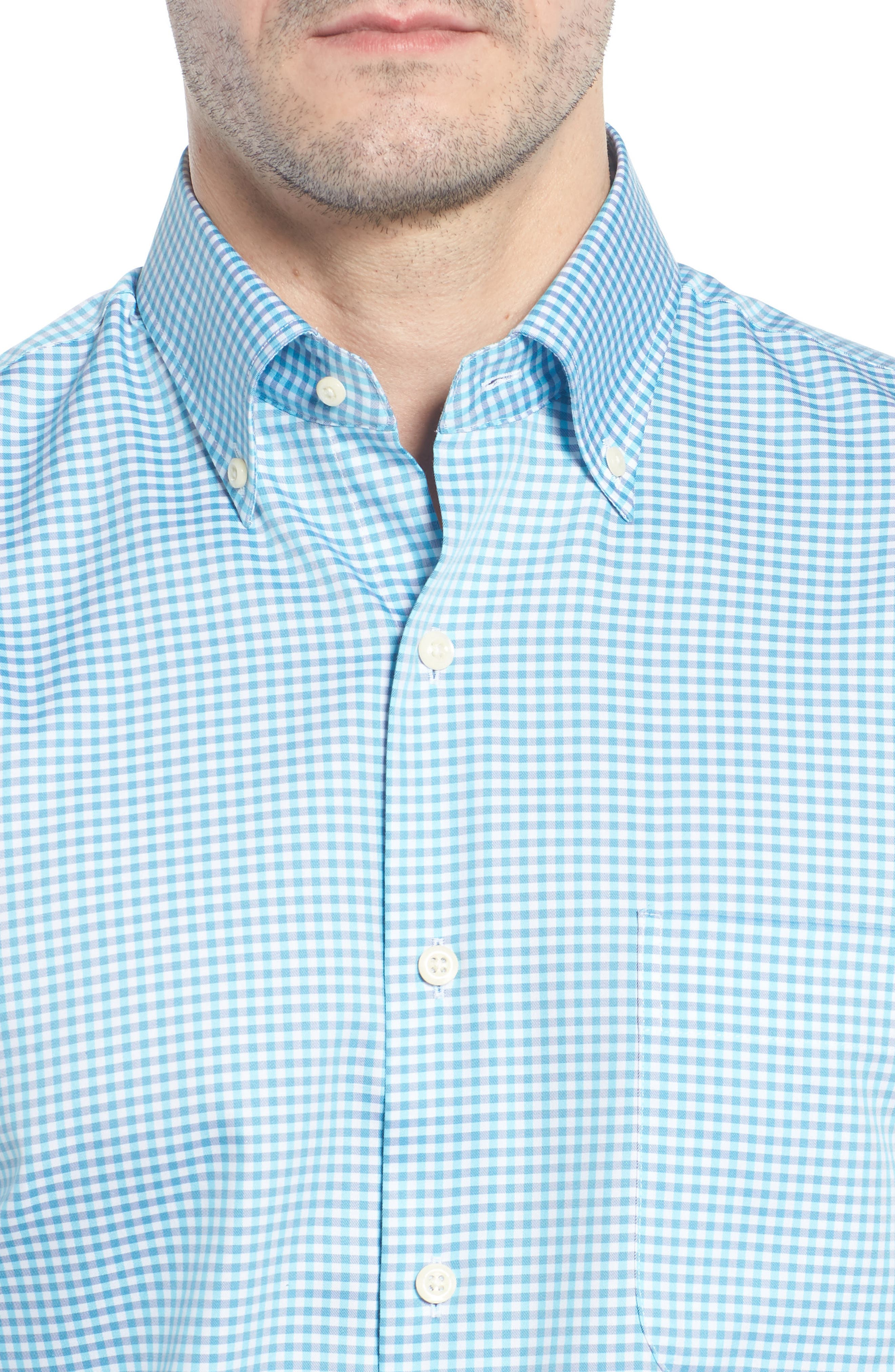 Crown Classic Fit Microcheck Sport Shirt,                             Alternate thumbnail 2, color,                             Tahoe Blue