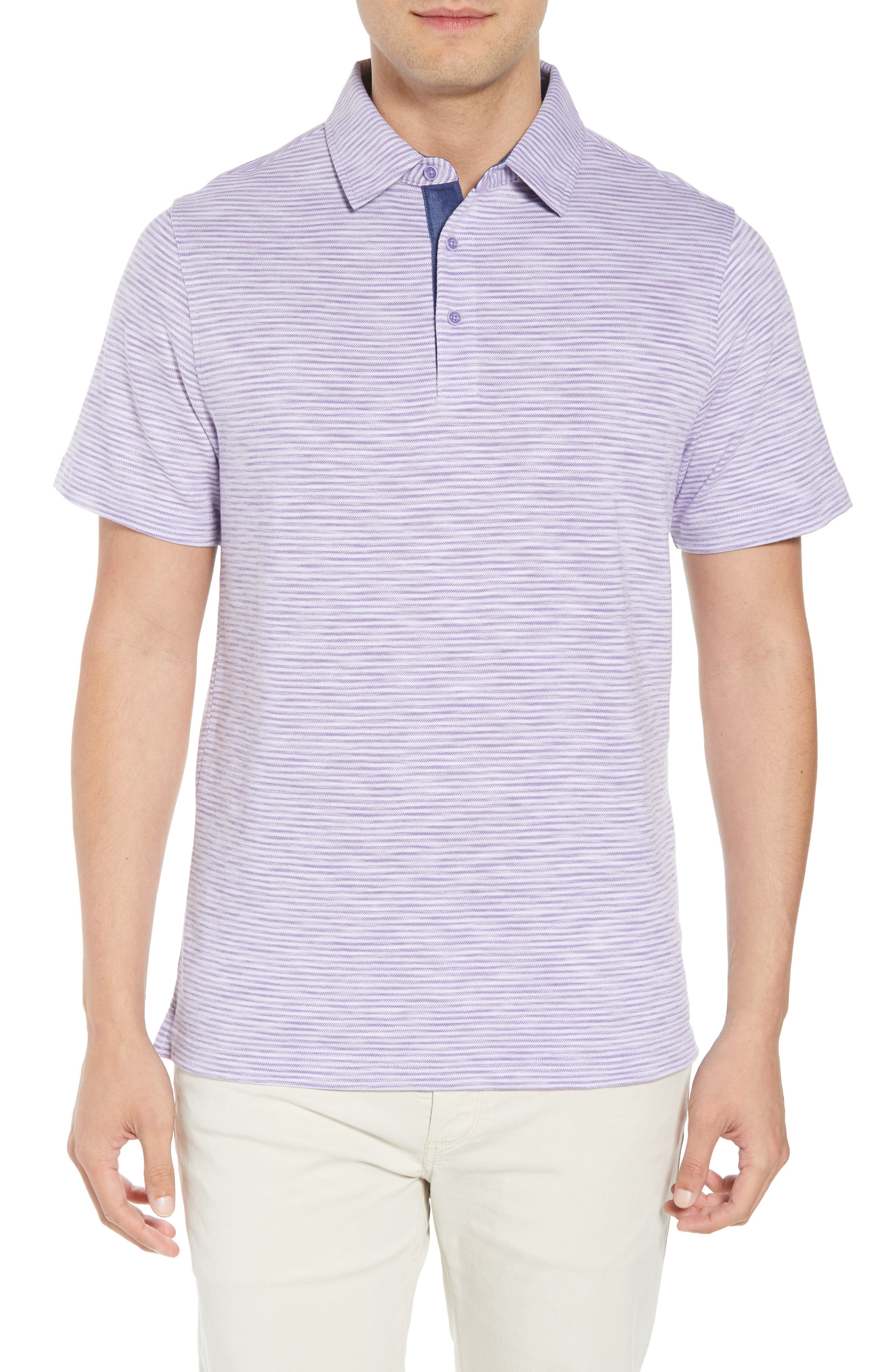 Marled Stripe Polo,                         Main,                         color, Orchid