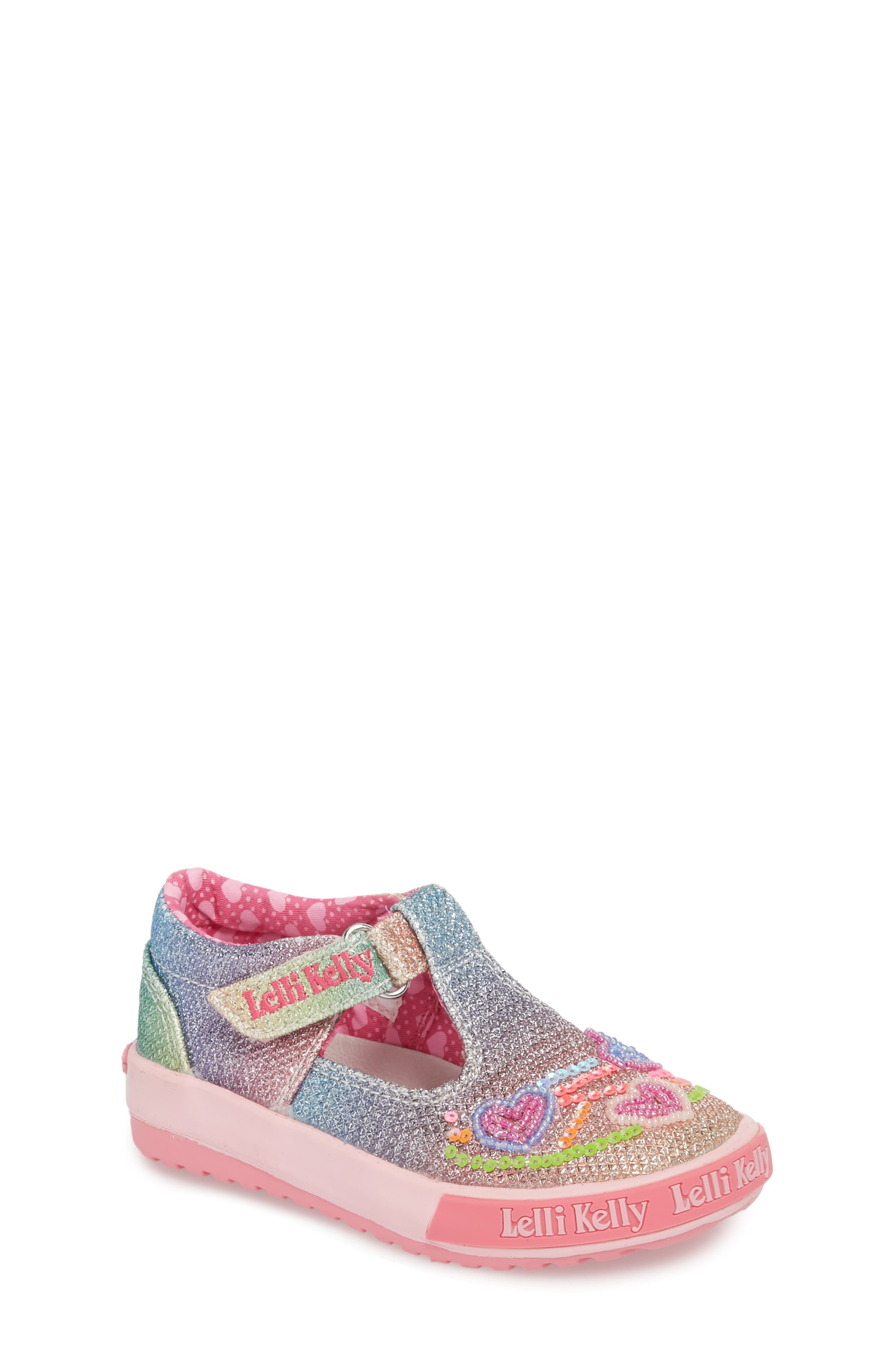 Lelli Kelly Glitter Metallic T-Strap Mary Jane (Baby, Walker & Toddler)