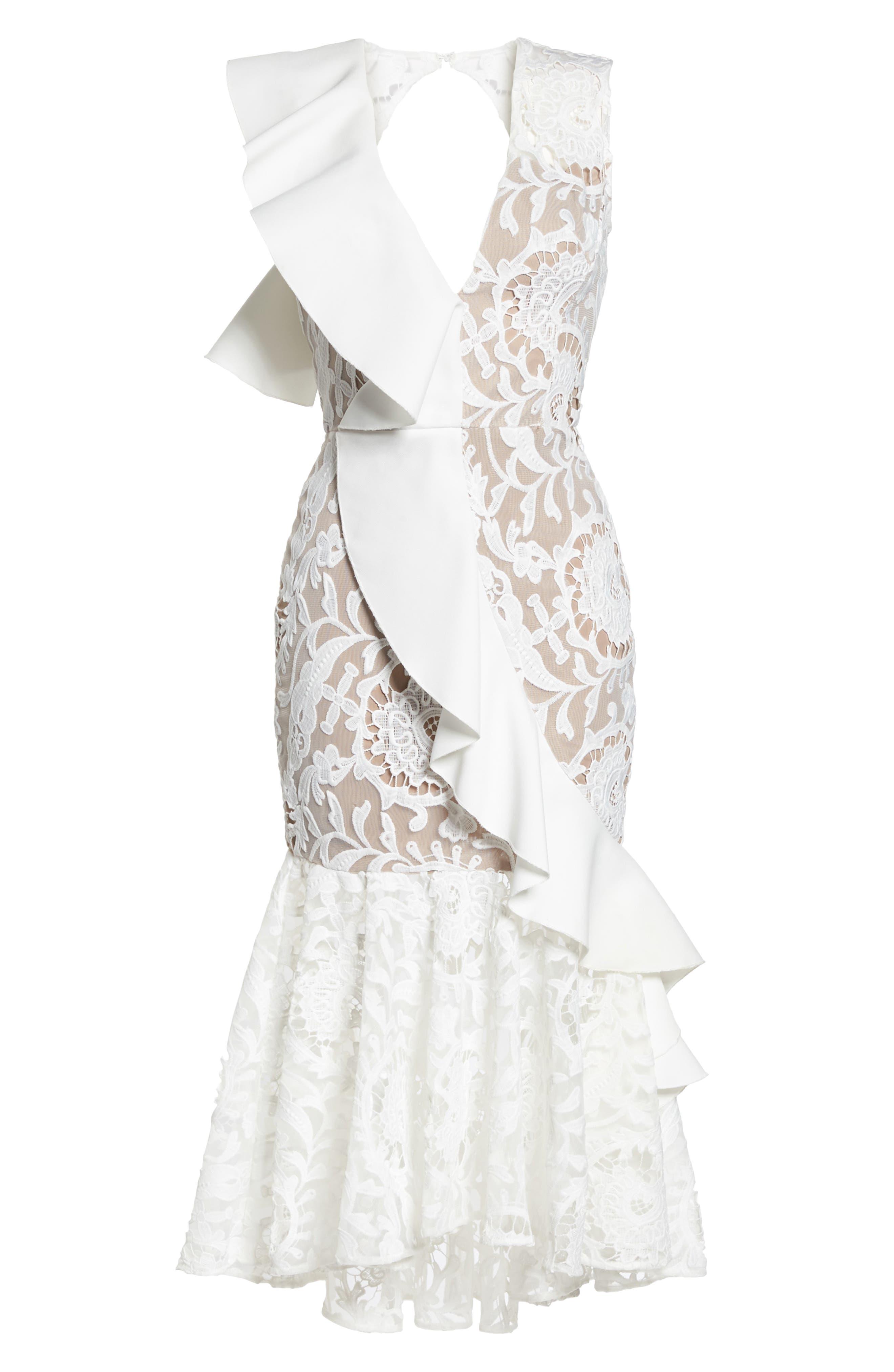 Rocha Waterfall Ruffle Lace Midi Dress,                             Alternate thumbnail 6, color,                             White